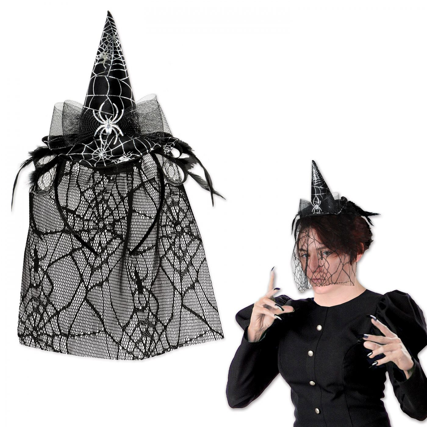 Spider Witch Hat Headband w/Veil image