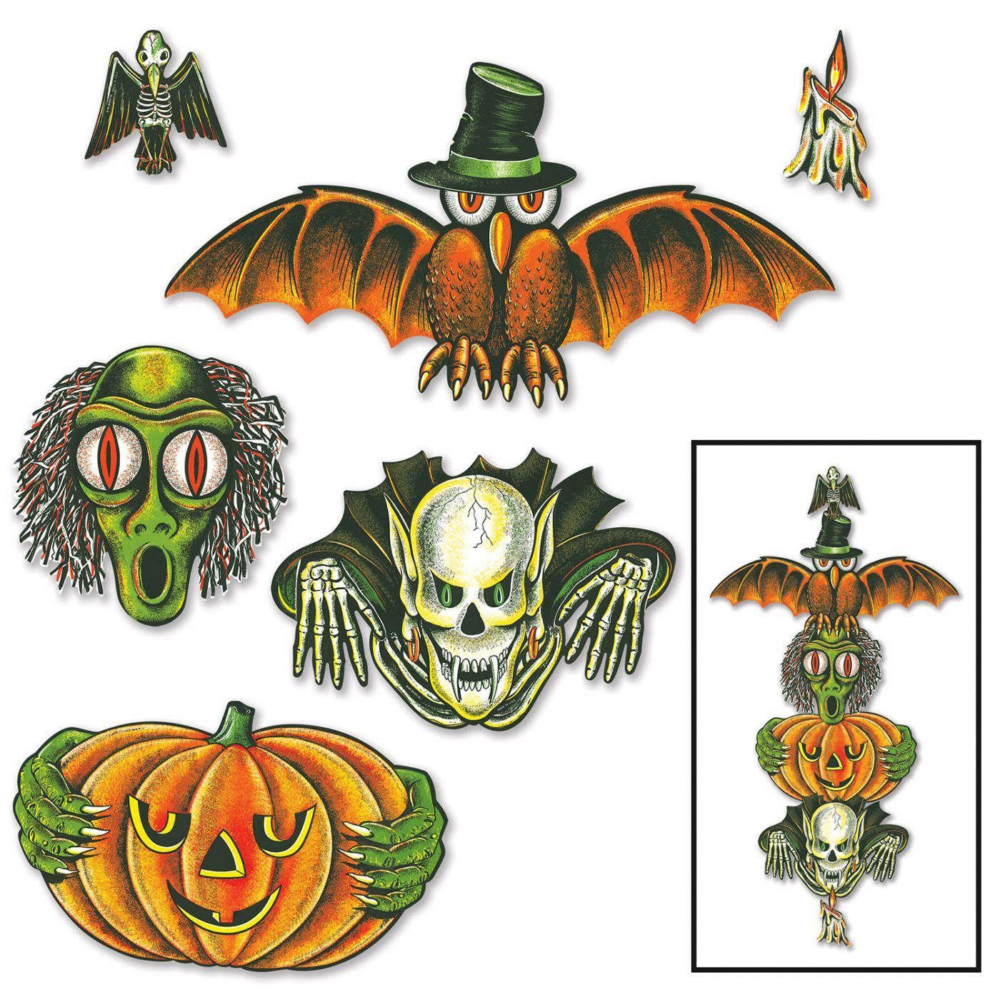 Vintage Halloween Totem Pole Cutouts image