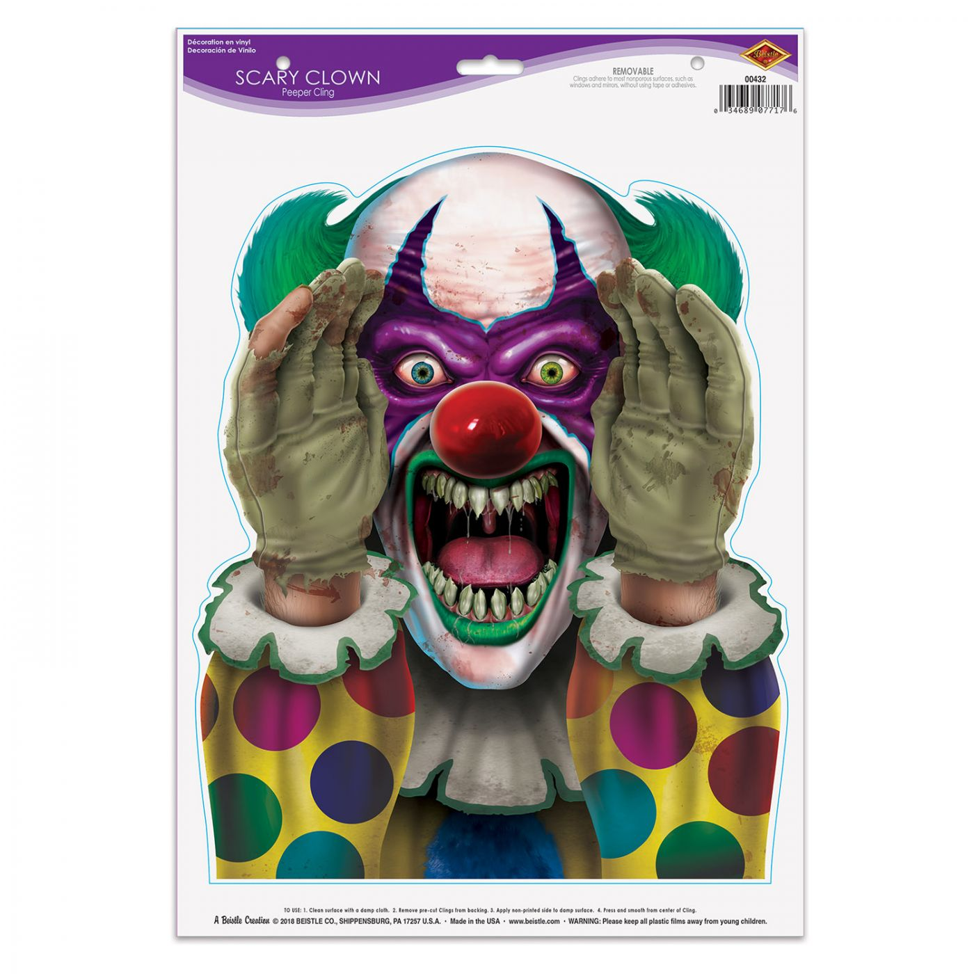 Scary Clown Peeper Cling image