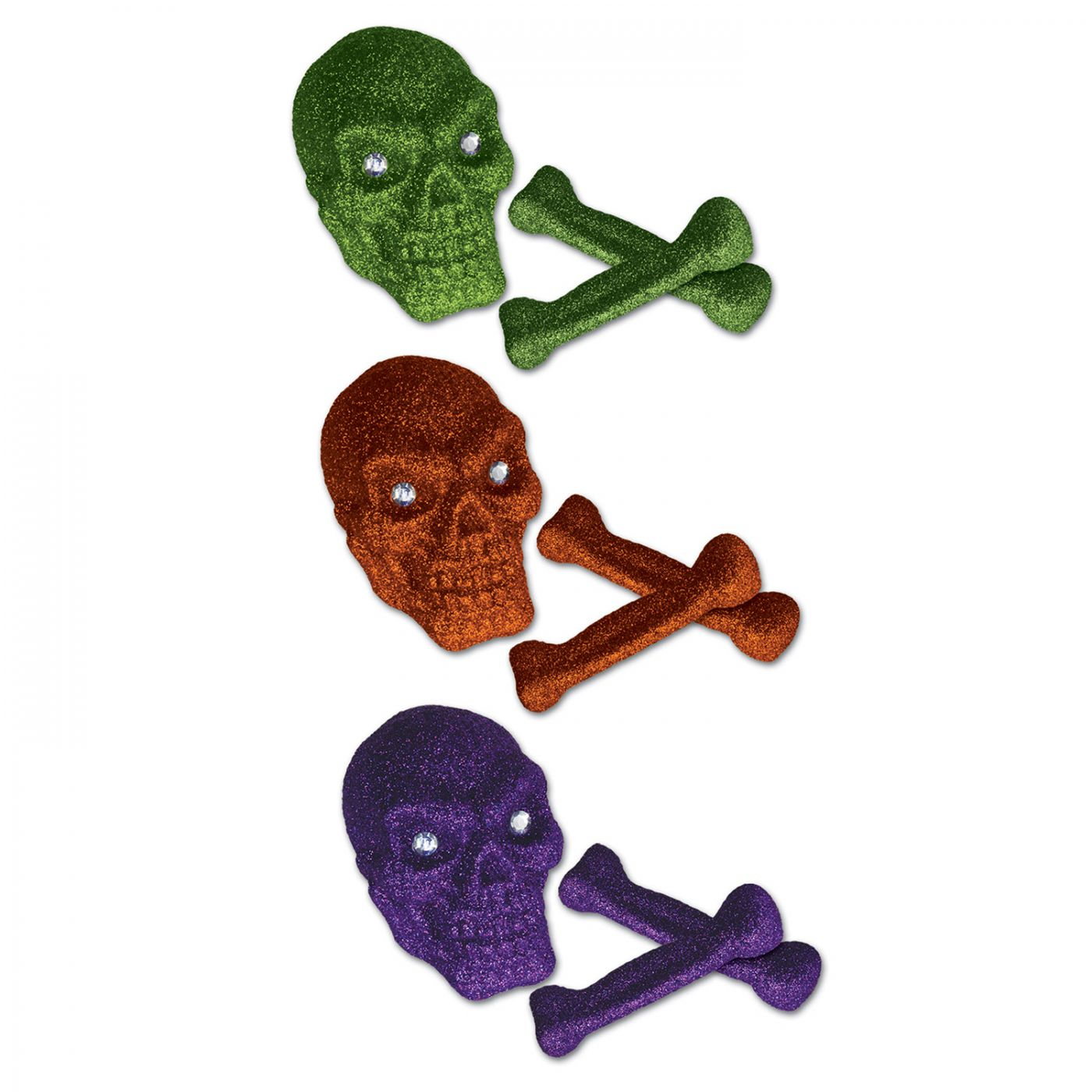 Glittered Plastic Skull & Bones image