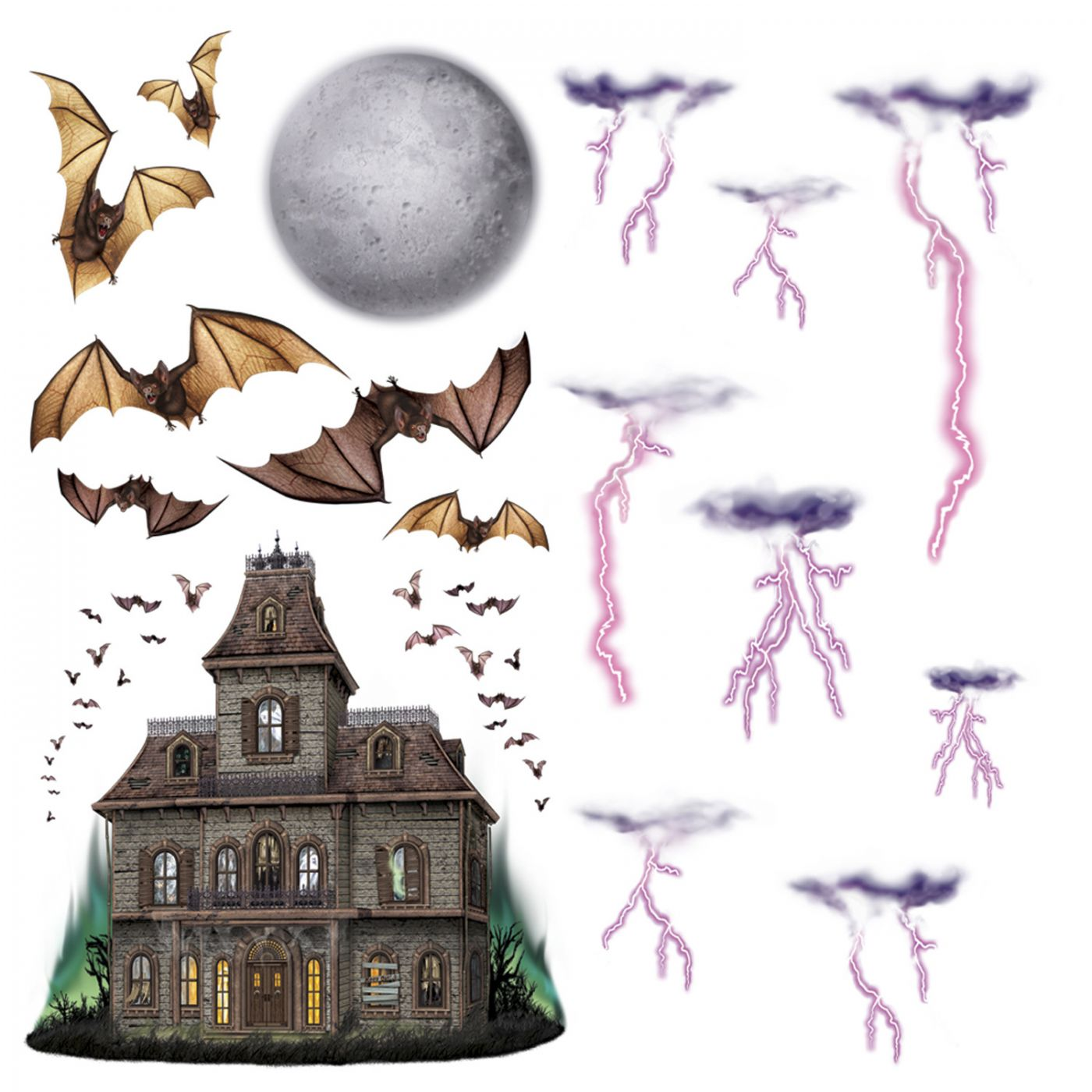 Haunted House & Night Sky Props image