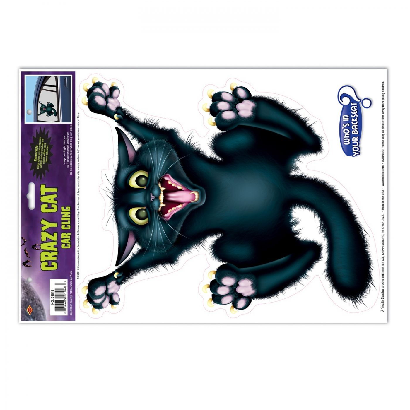 Crazy Cat Car Cling image