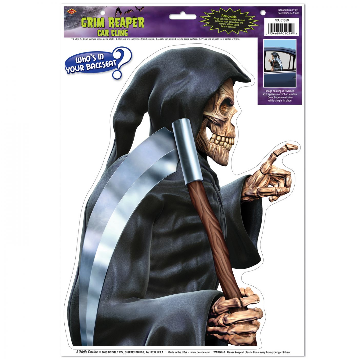 Grim Reaper Car Cling image