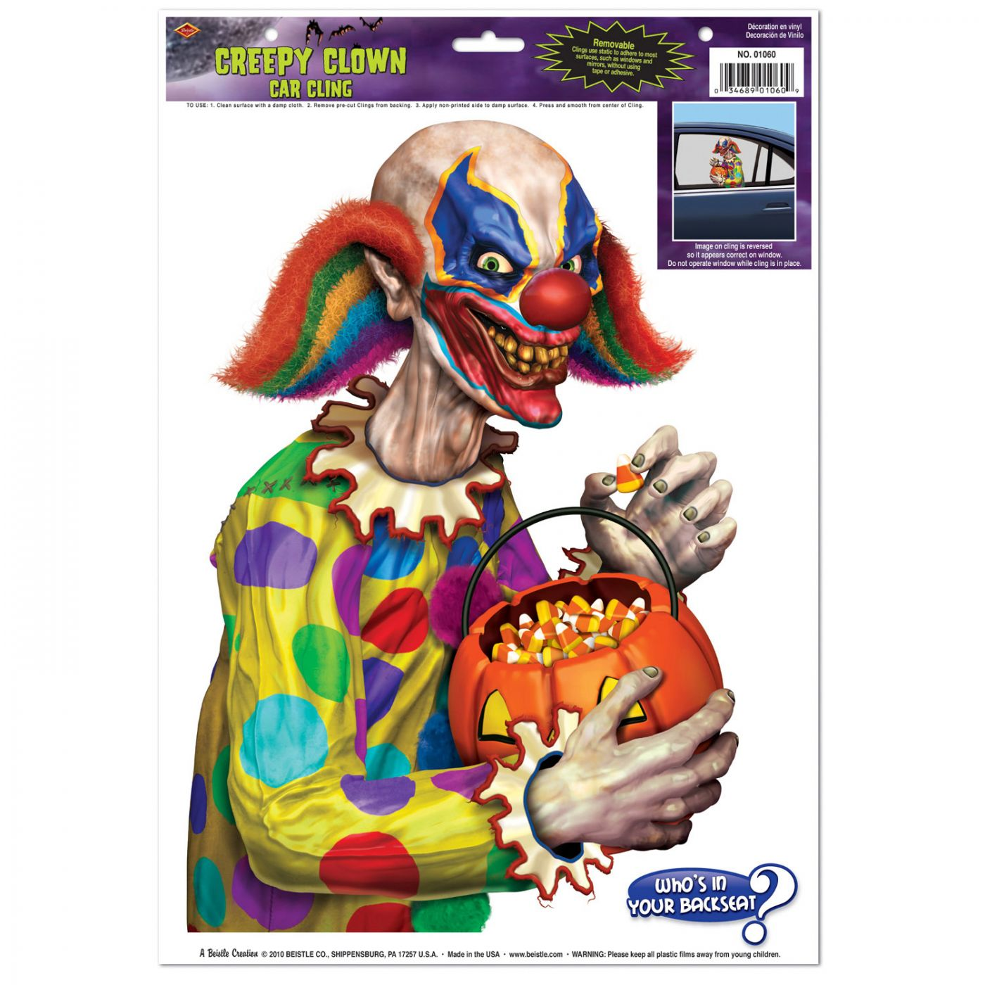 Creepy Clown Car Cling image