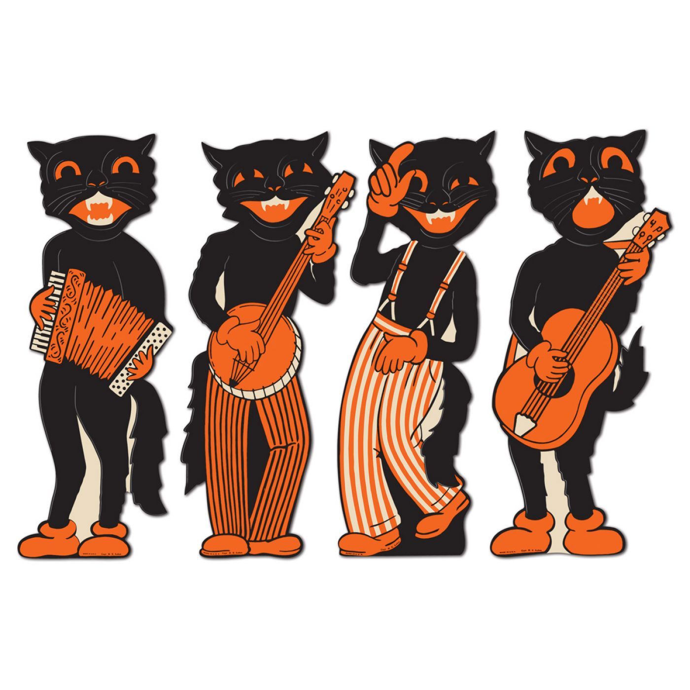 Vintage Halloween Scat Cat Band Cutouts image