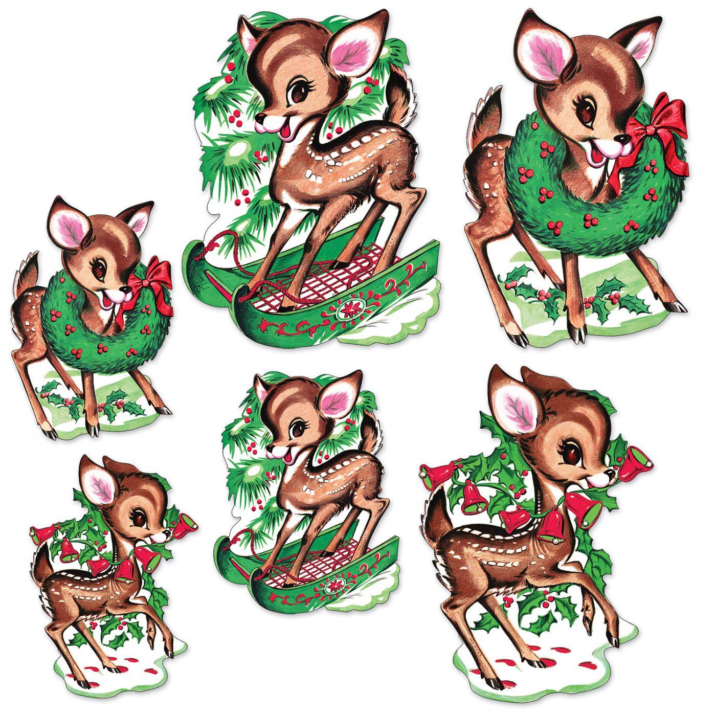 Vintage Christmas Reindeer Cutouts image