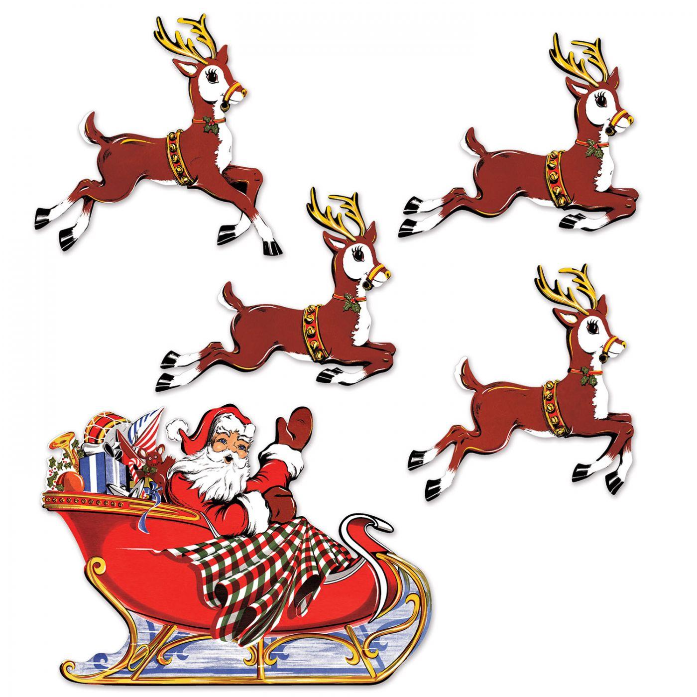 Vintage Christmas Santa & Sleigh Cutouts image