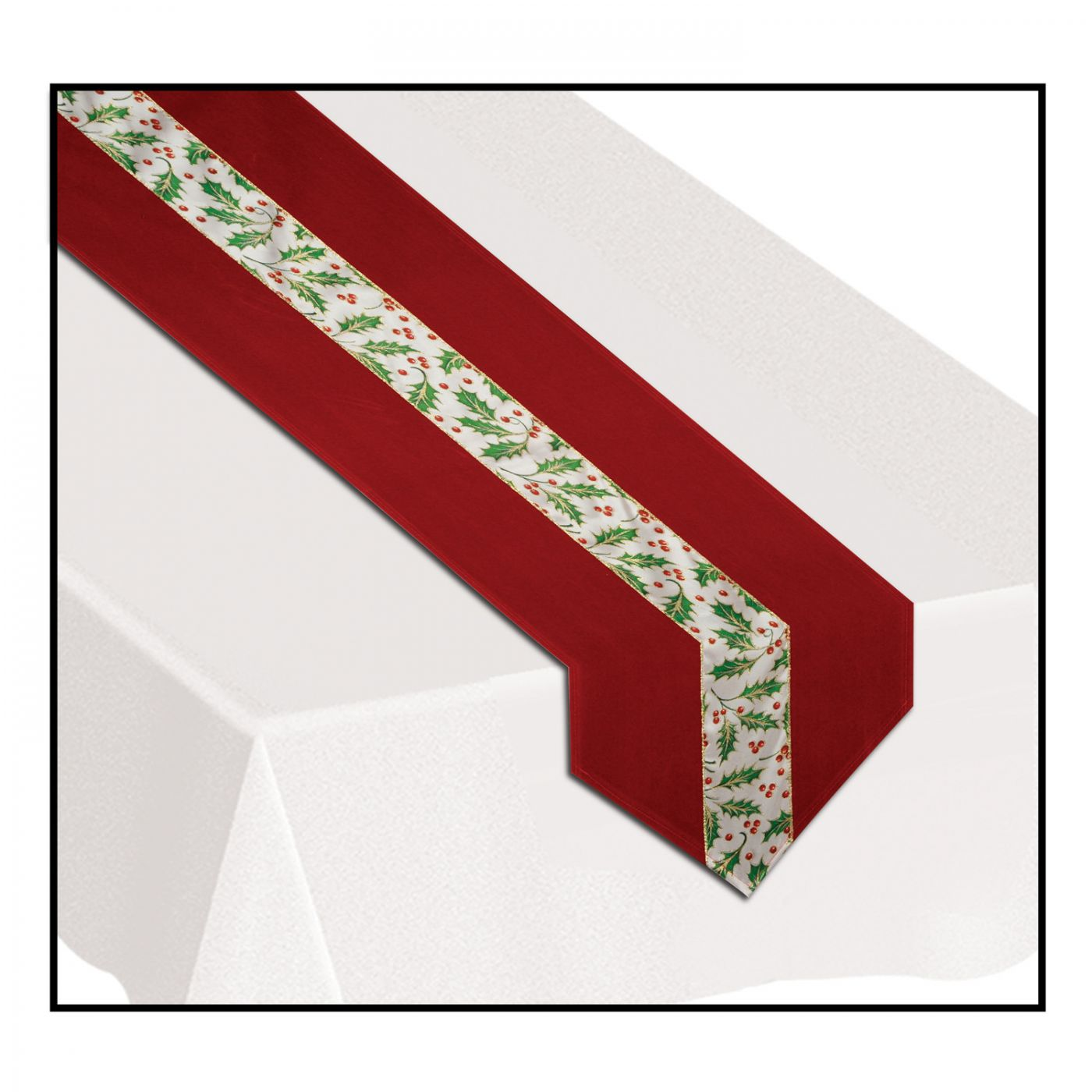 Christmas Holly Fabric Table Runner (6) image