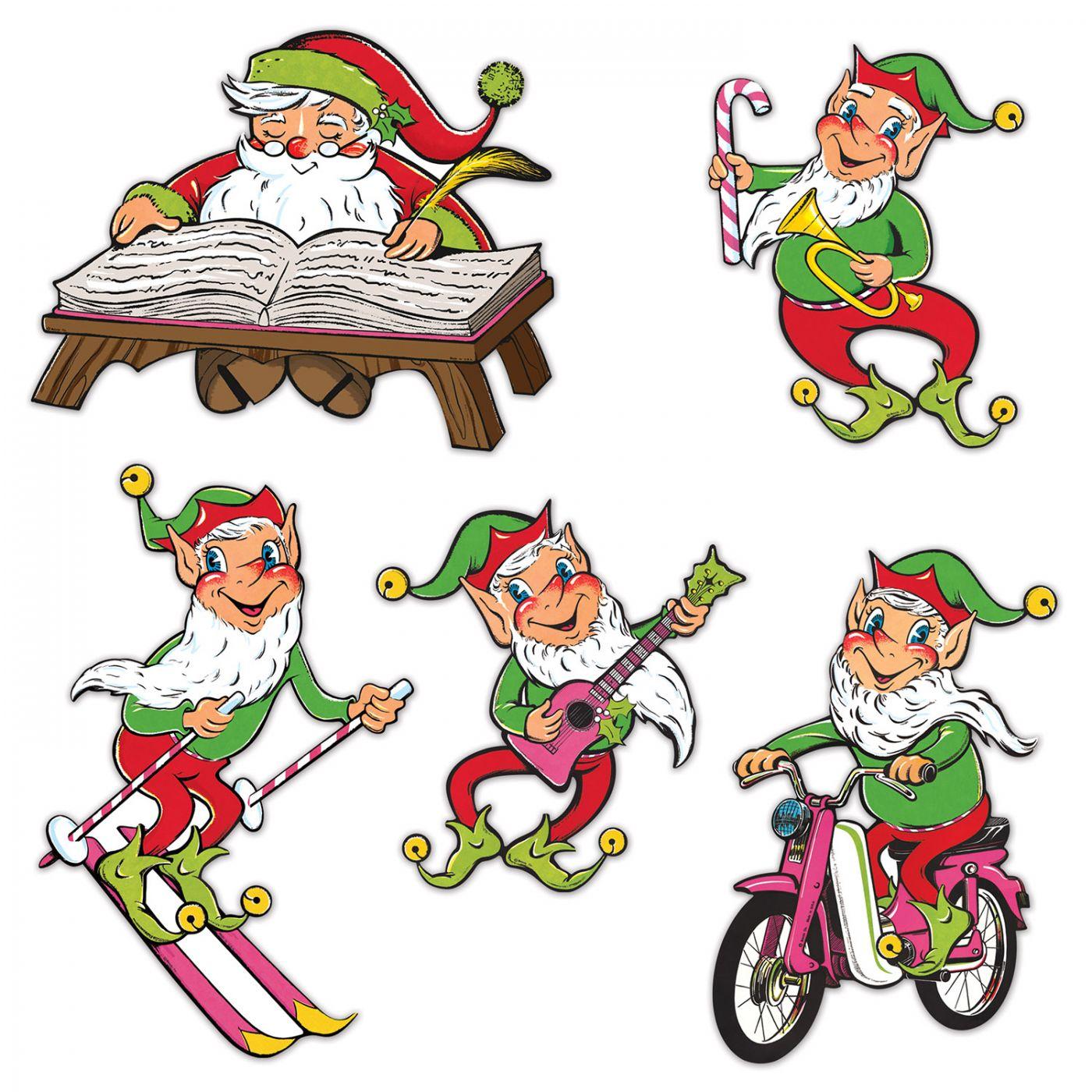 Vintage Christmas Santa & Elves Cutouts image
