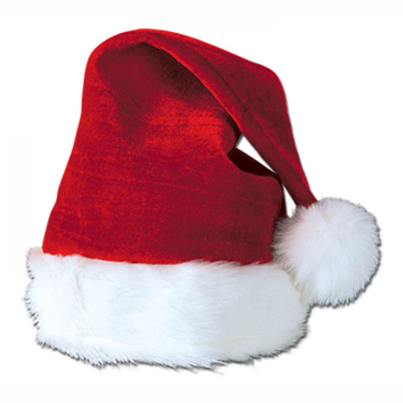 Velvet Santa Hat w/Plush Trim image