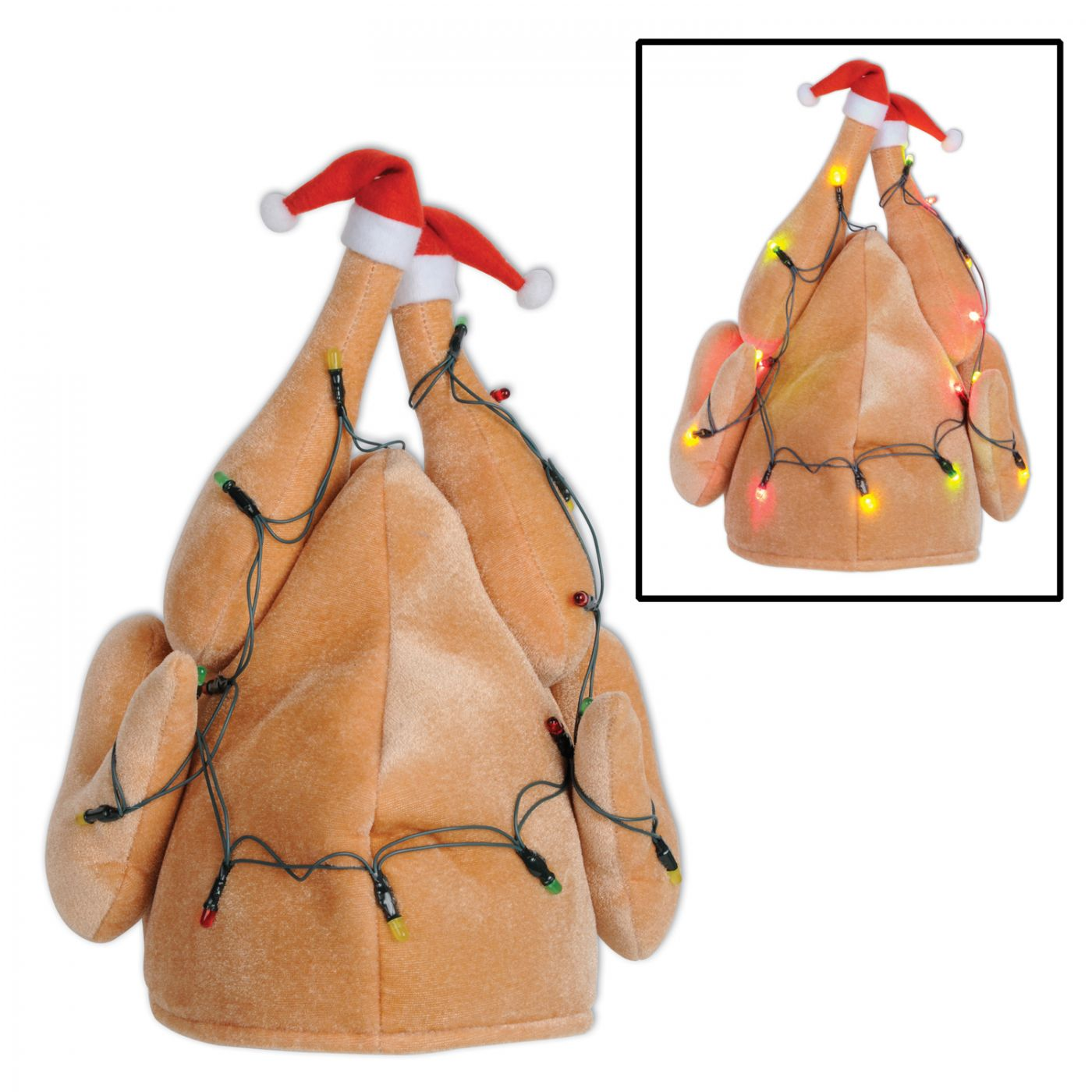 Image of Plush Light-Up Christmas Turkey Hat (6)