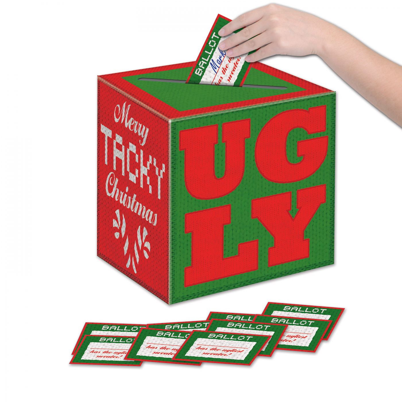 Ugly Sweater Ballot Box w/Ballots (6) image