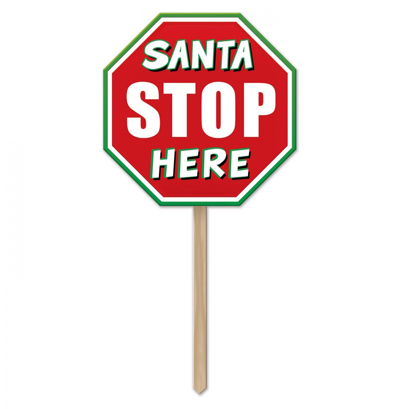 Plastic Santa Stop Here Yard Sign (6) image