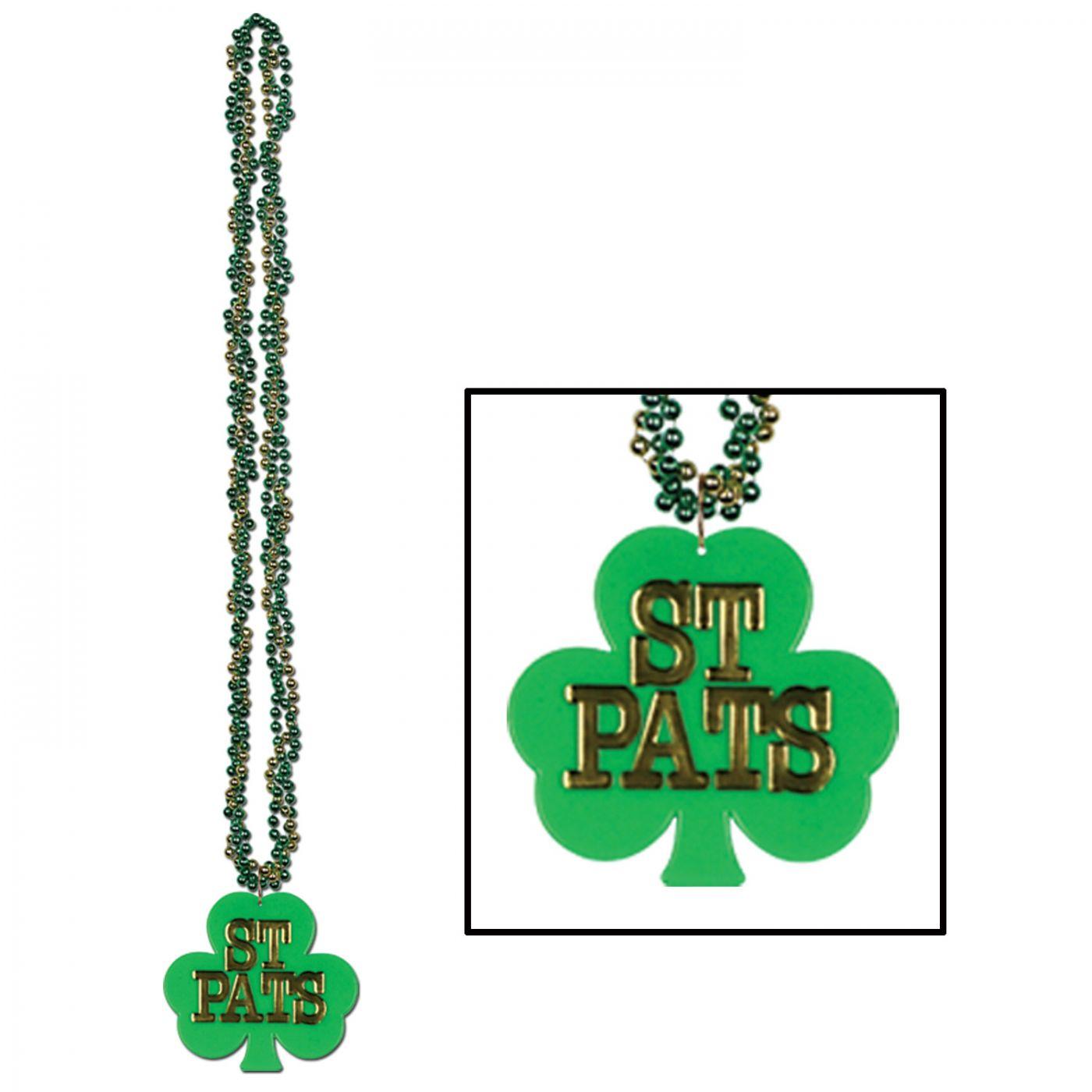 Image of Braided Beads w/Shamrock Medallion