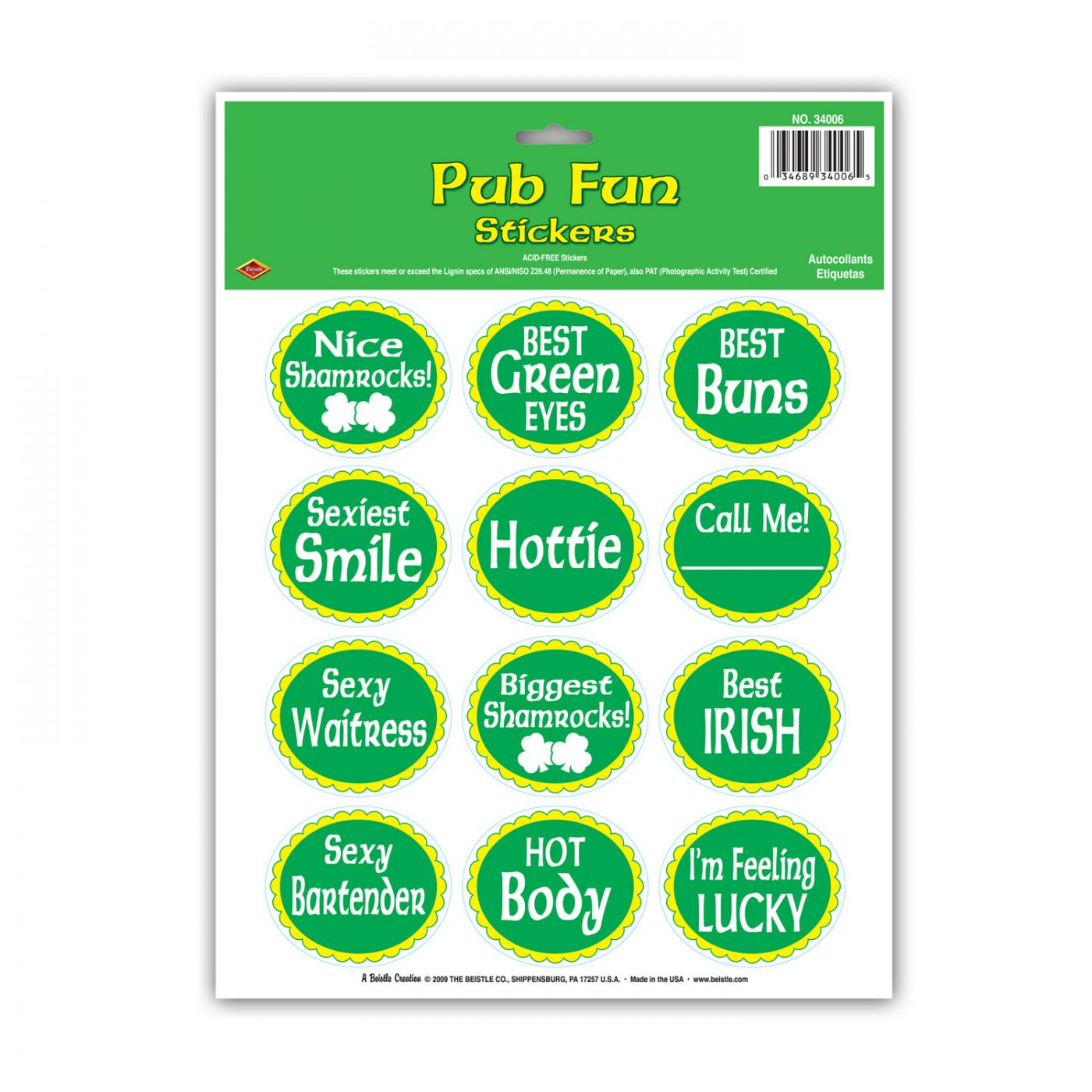 St Patrick Pub Fun Stickers image