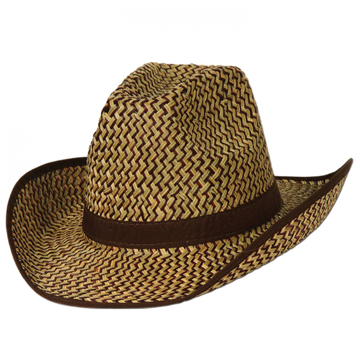 Image of 2-Tone Western Hat w/Brown Trim & Band (60)