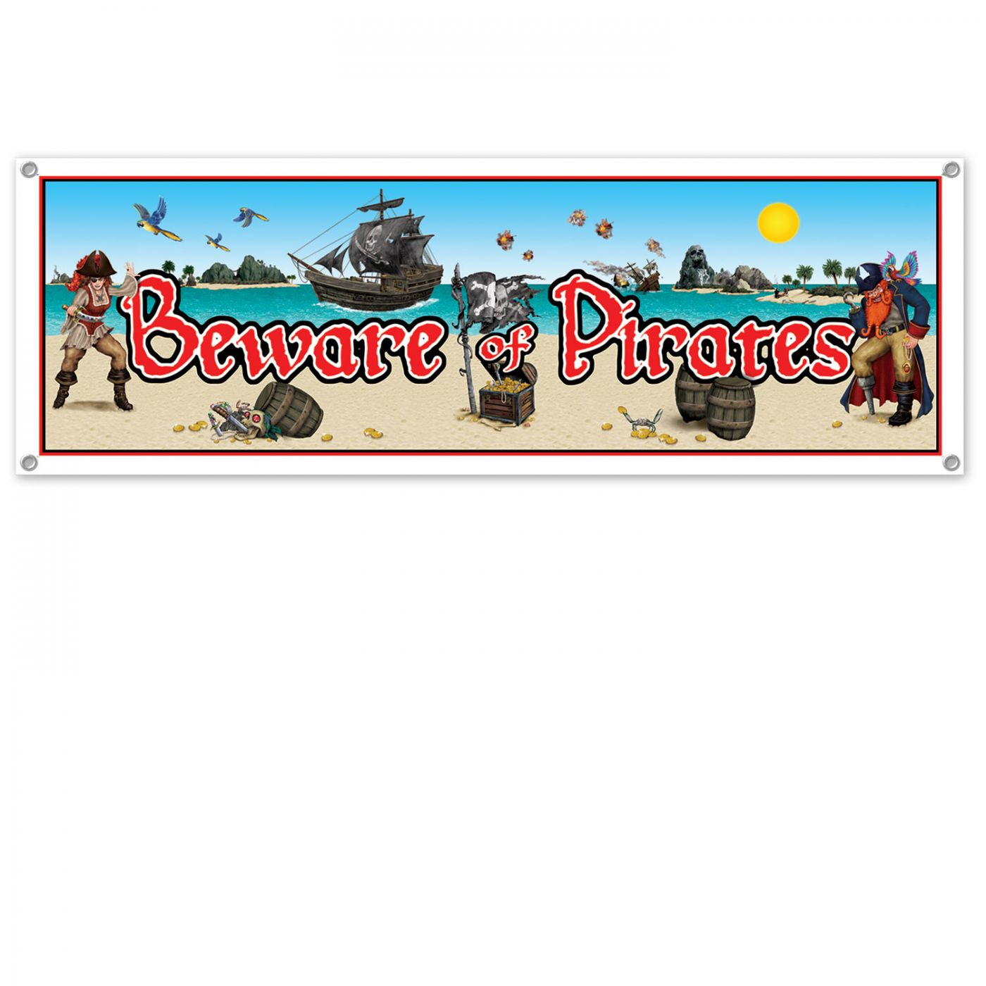 Image of Beware Of Pirates Sign Banner