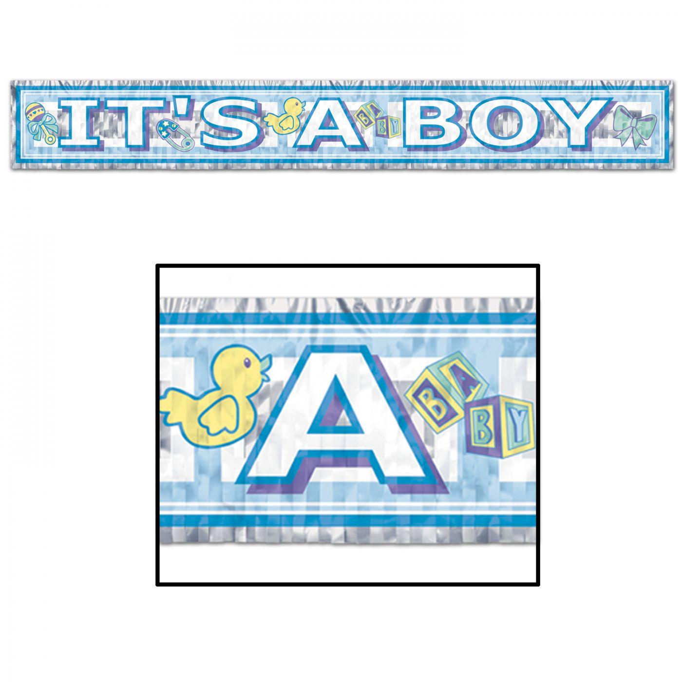 Metallic It's A Boy Fringe Banner image