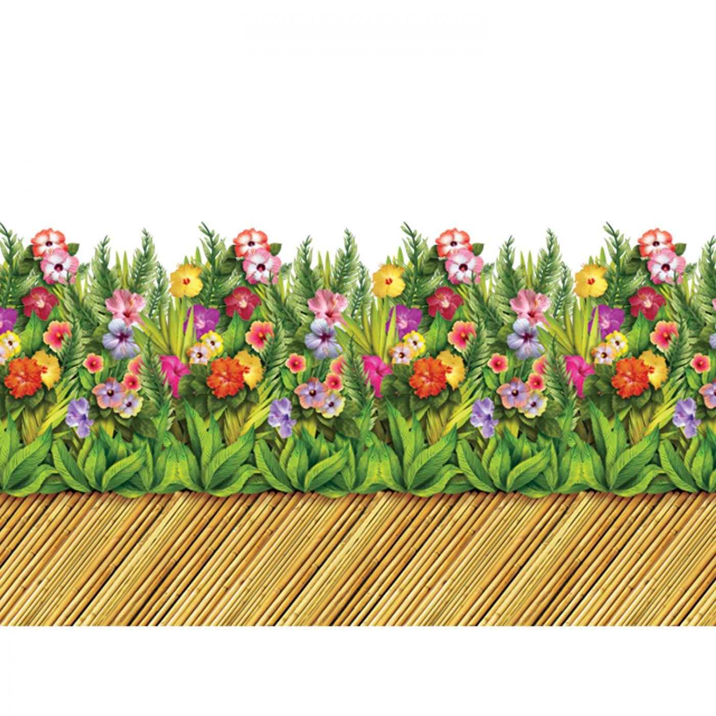 Details zu Tropische Blumen & Bambus Gehweg Szene Einstellung Bordüre