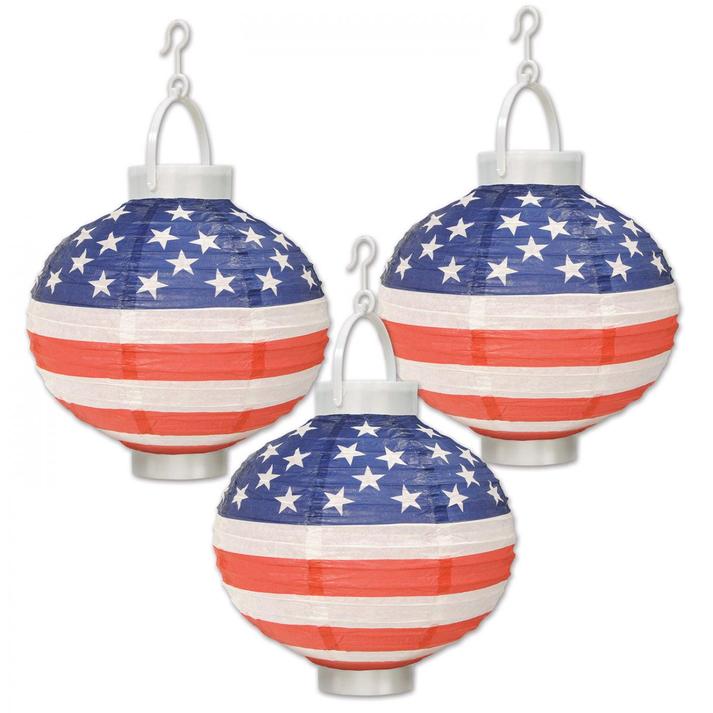 Light-Up Patriotic Paper Lanterns (6) image