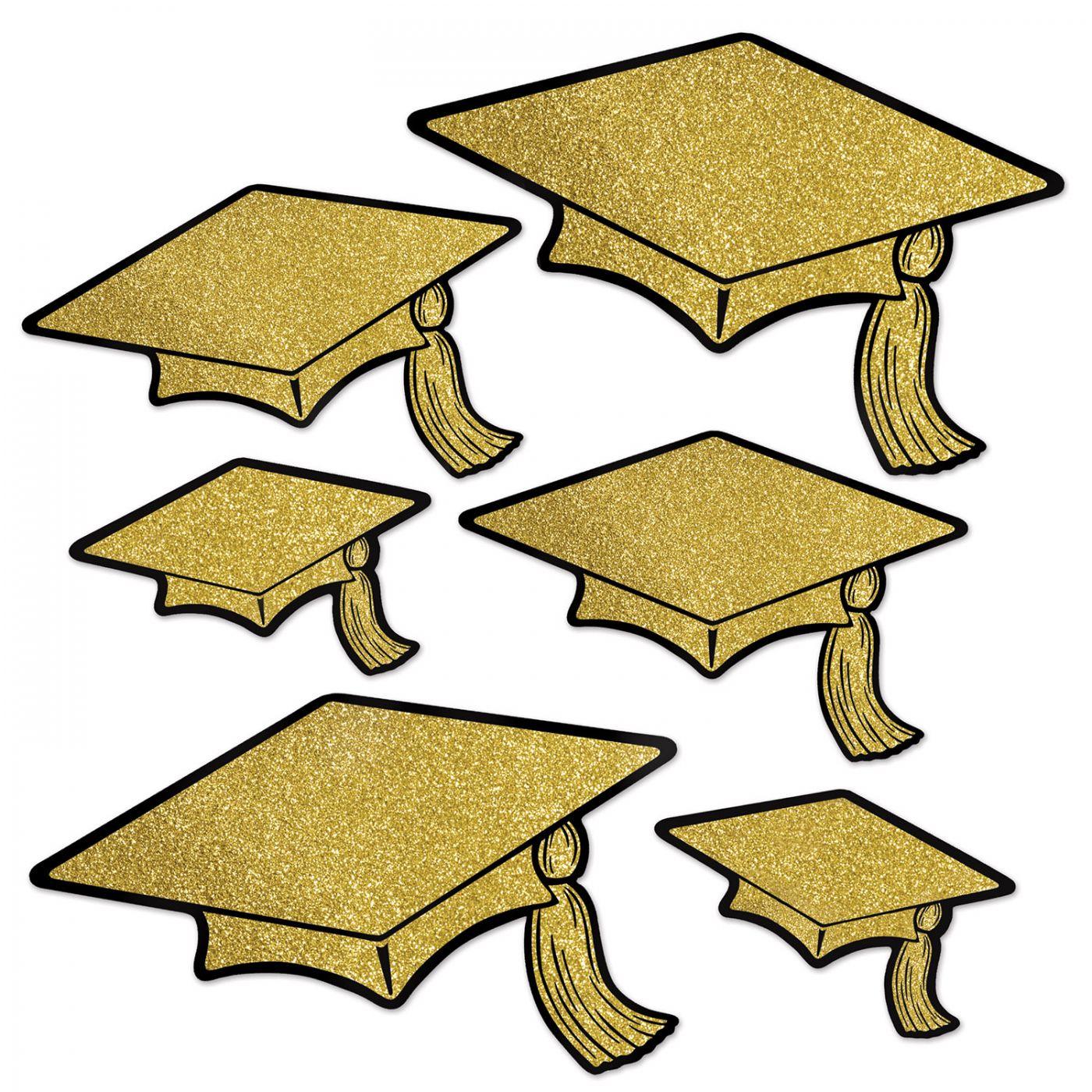 Glittered Foil Grad Cap Cutouts image