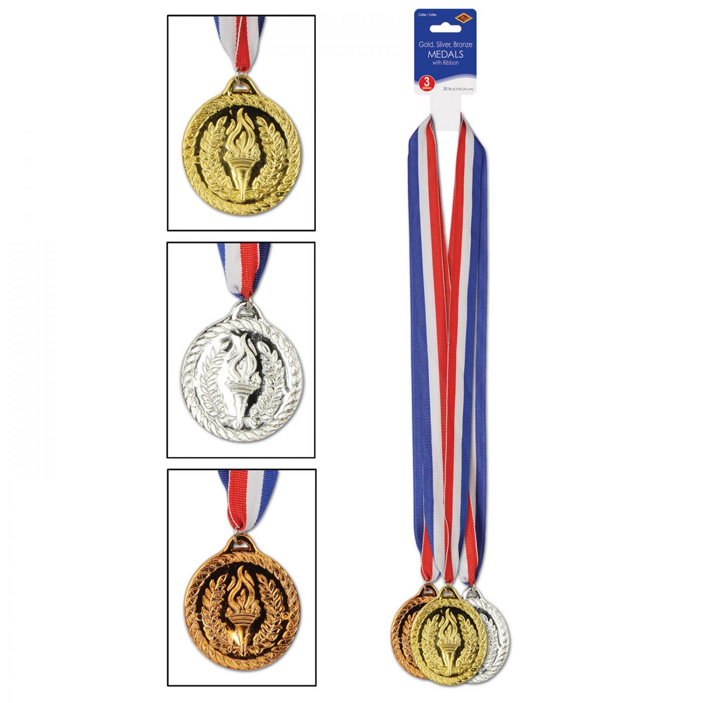 Gold, Silver & Bronze Medals w/Ribbon (4) image