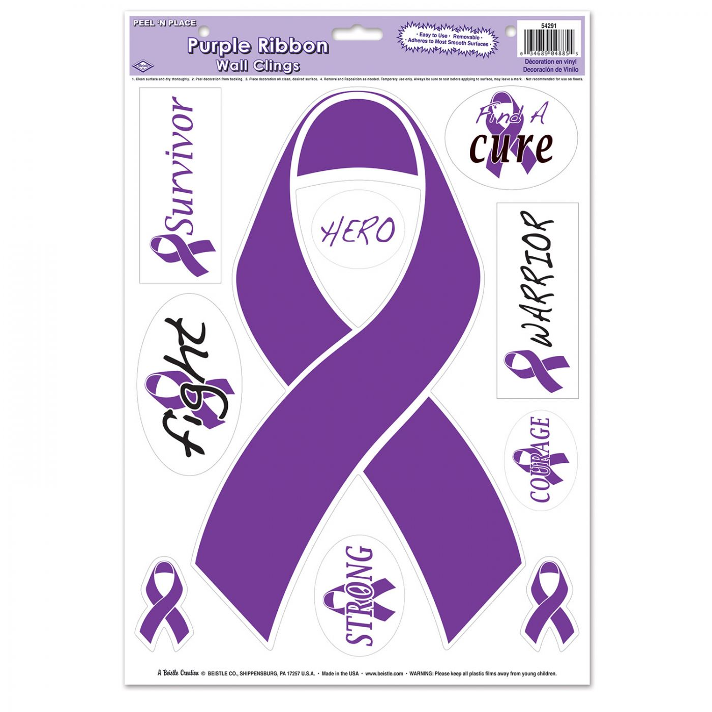 Purple Ribbon/Find A Cure Peel 'N Place image