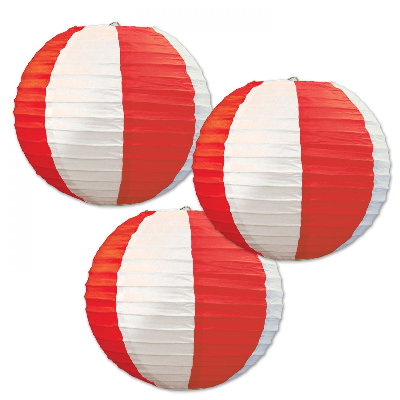 Red & White Stripes Paper Lanterns (6) image