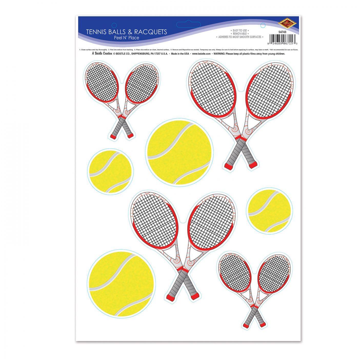 Tennis Balls & Racquets Peel 'N Place image