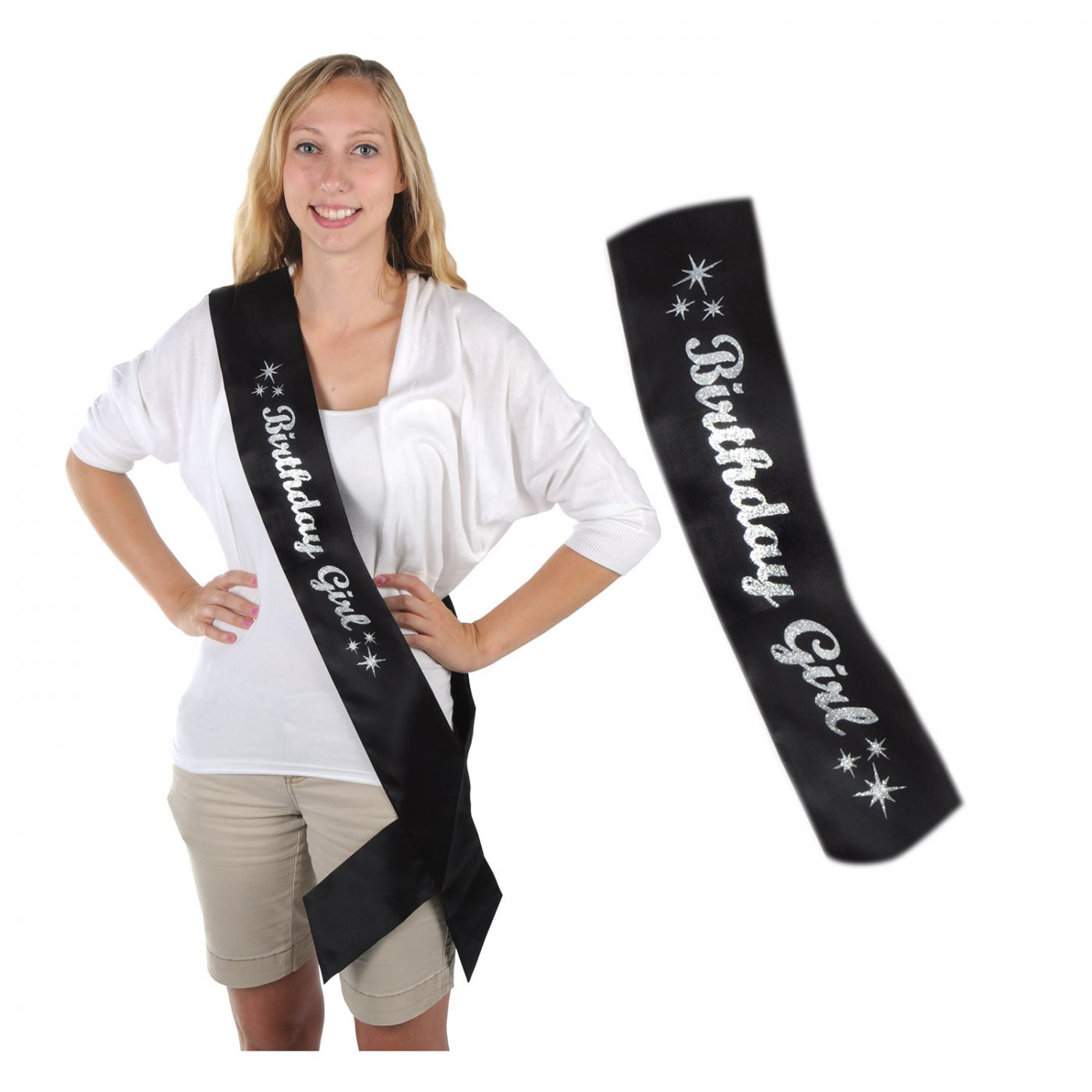 Glittered Birthday Girl Satin Sash (6) image