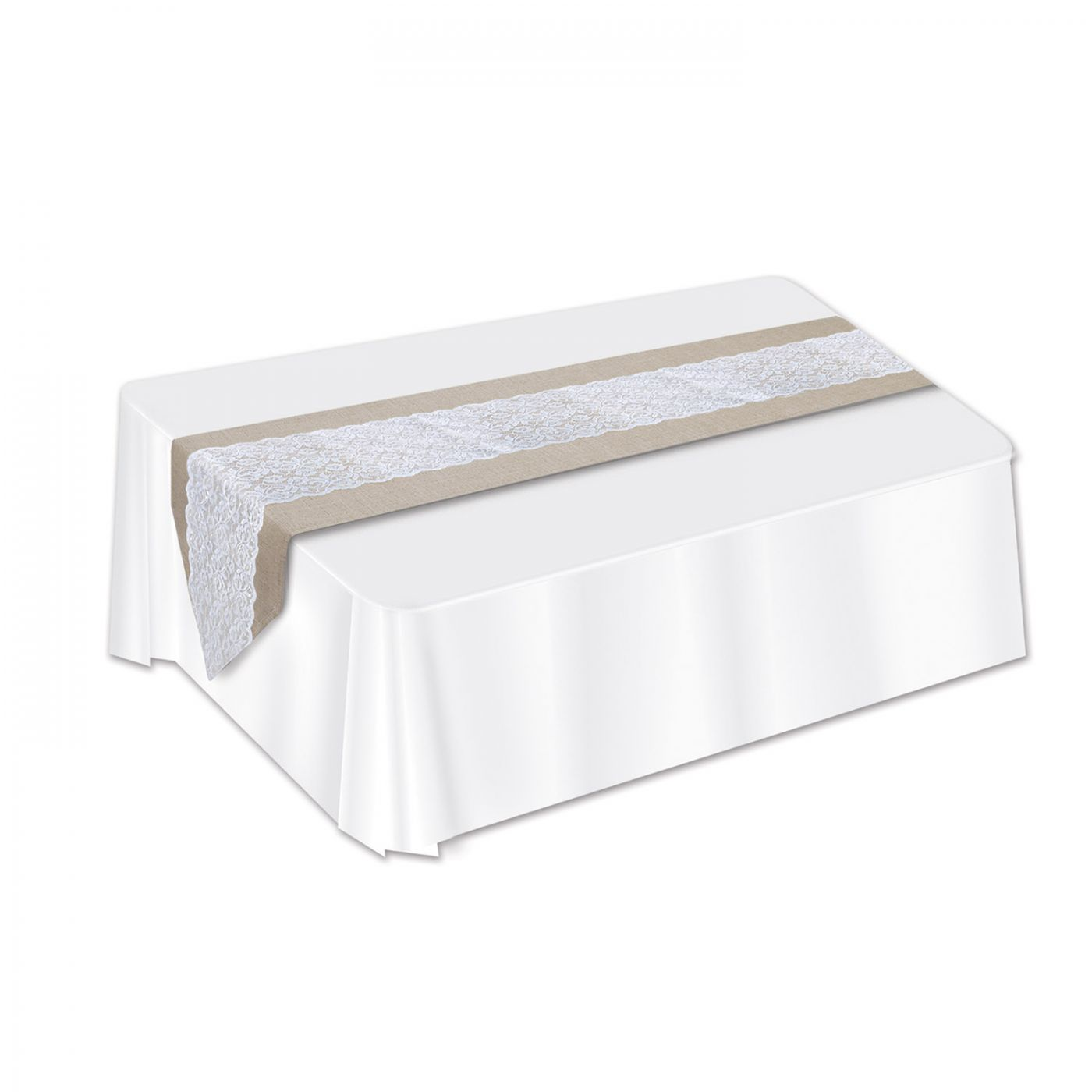 Lace & Burlap Table Runner image