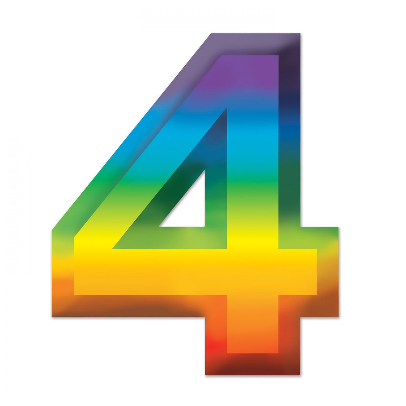 Multi-Color Plastic 3-D Number  4  (24) image