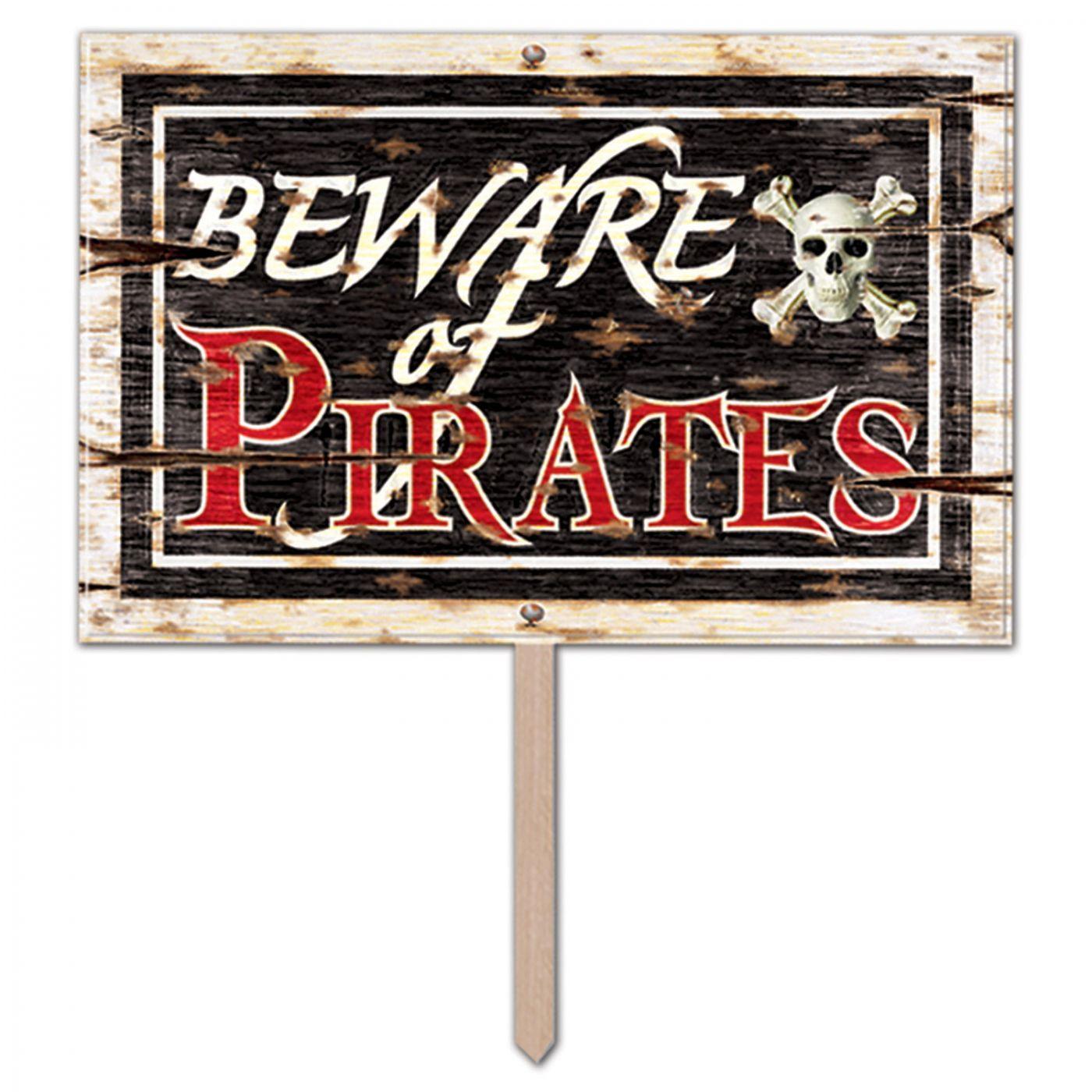 Image of 3-D Plastic Beware Of Pirates Yard Sign (6)