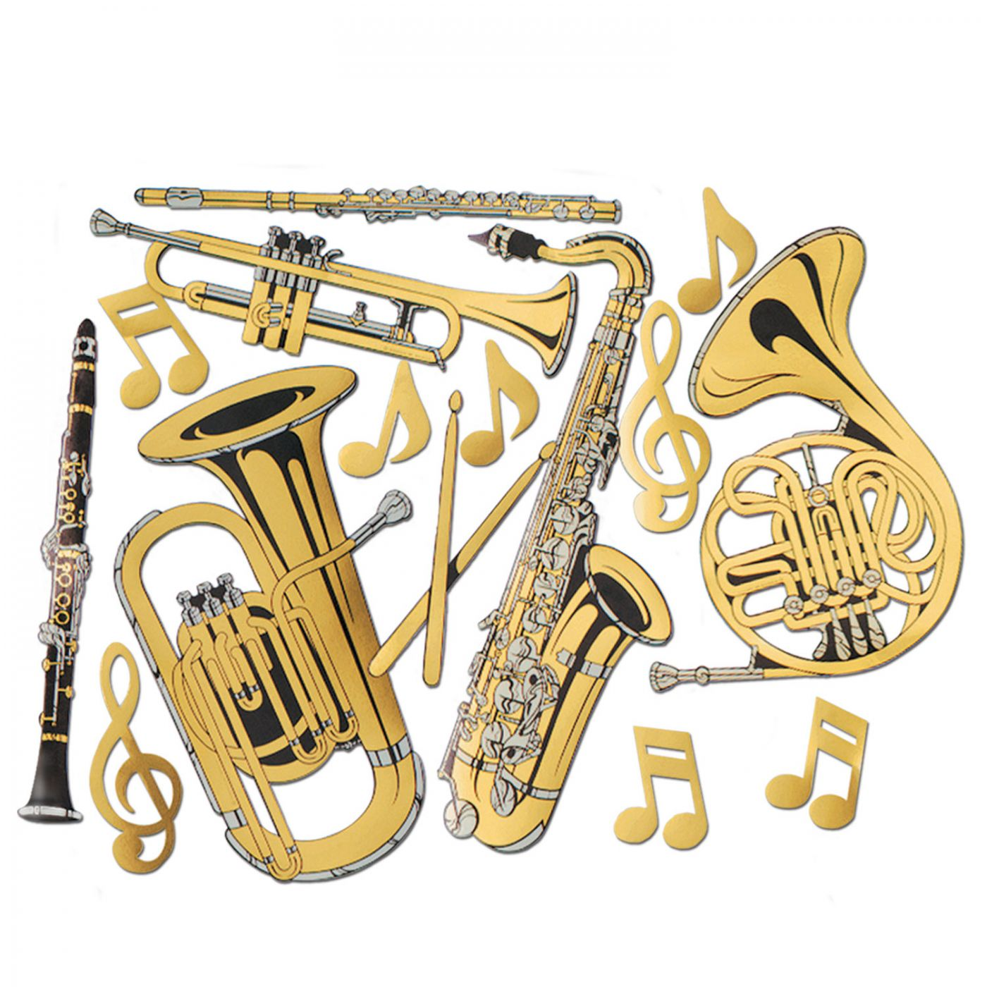 Gold Foil Musical Instruments Cutouts image
