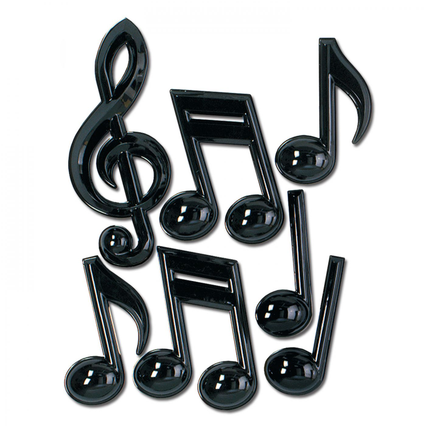 Image of Black Plastic Musical Notes