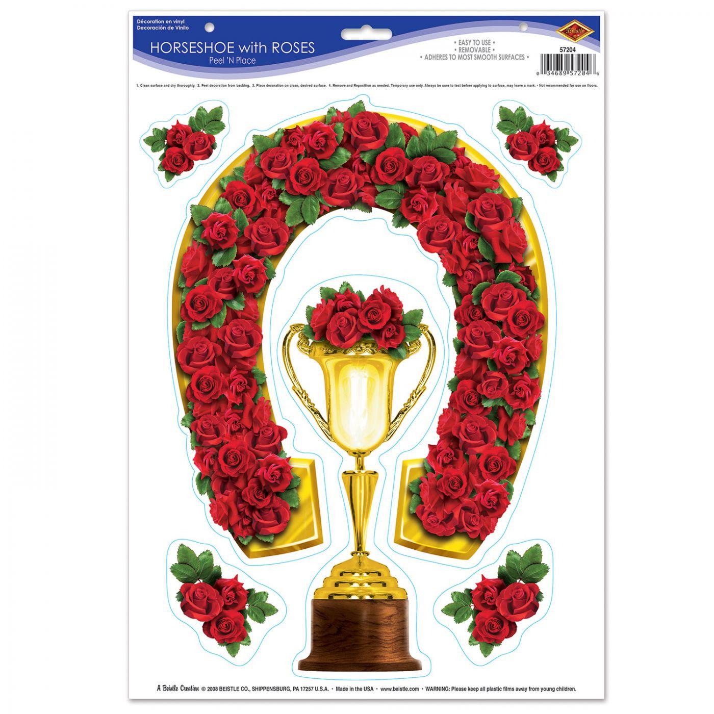 Image of Horseshoe w/Roses Peel 'N Place