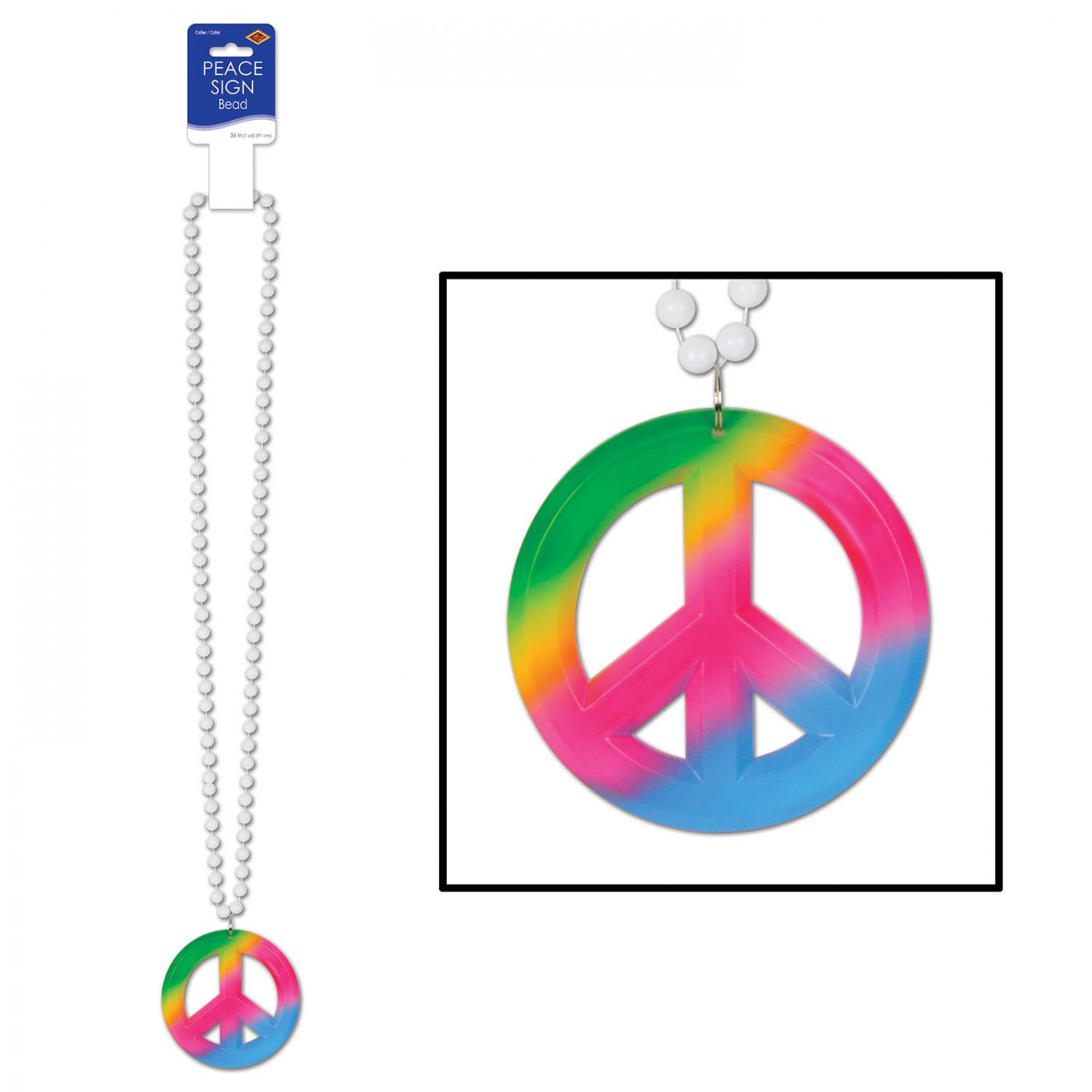 Beads w/Tie-Dyed Peace Sign Medallion image