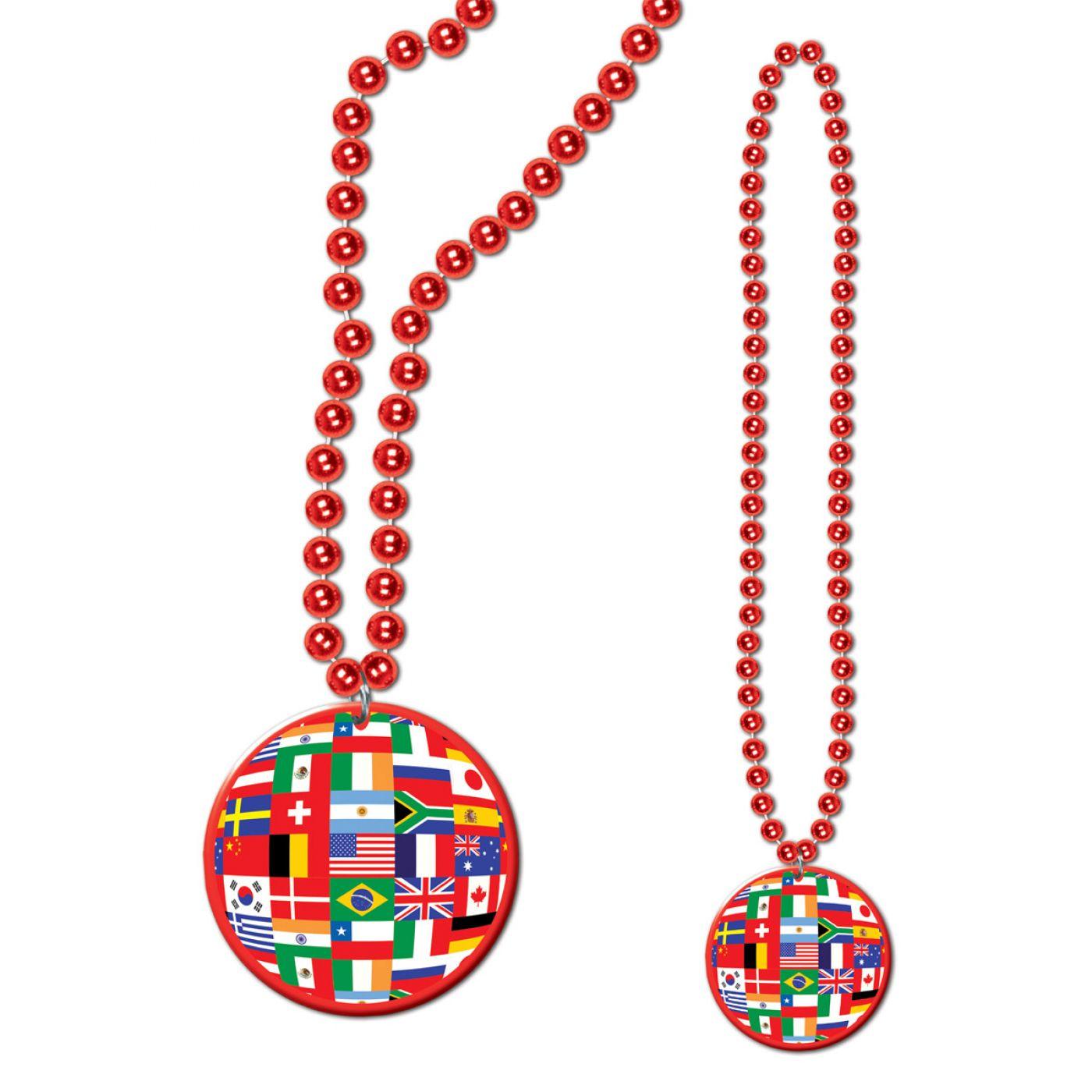 Image of Beads w/International Flag Medallion