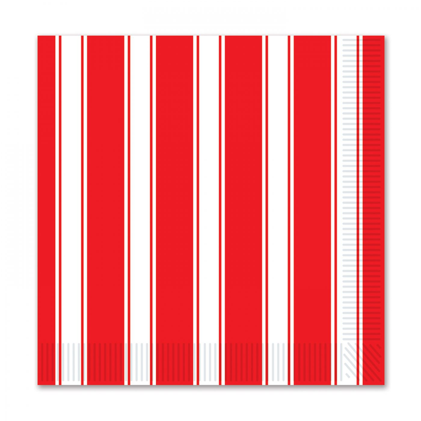 Red & White Stripes Beverage Napkins image