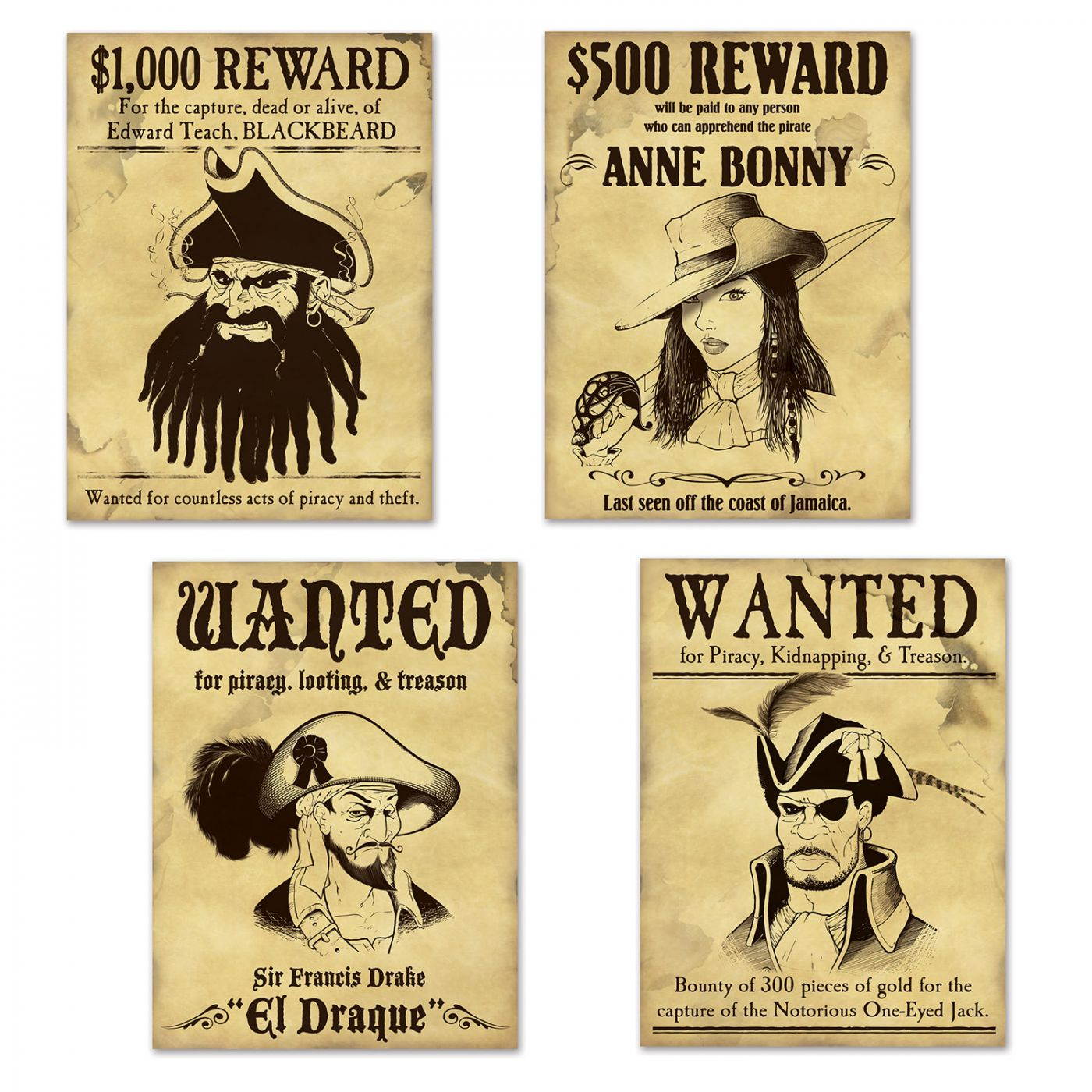 Pirate Wanted Sign Cutouts image
