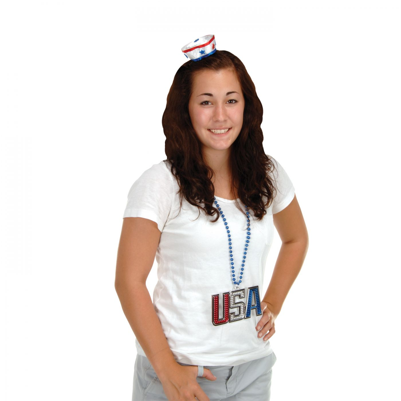 Patriotic Sailor Hat Hair Clip image