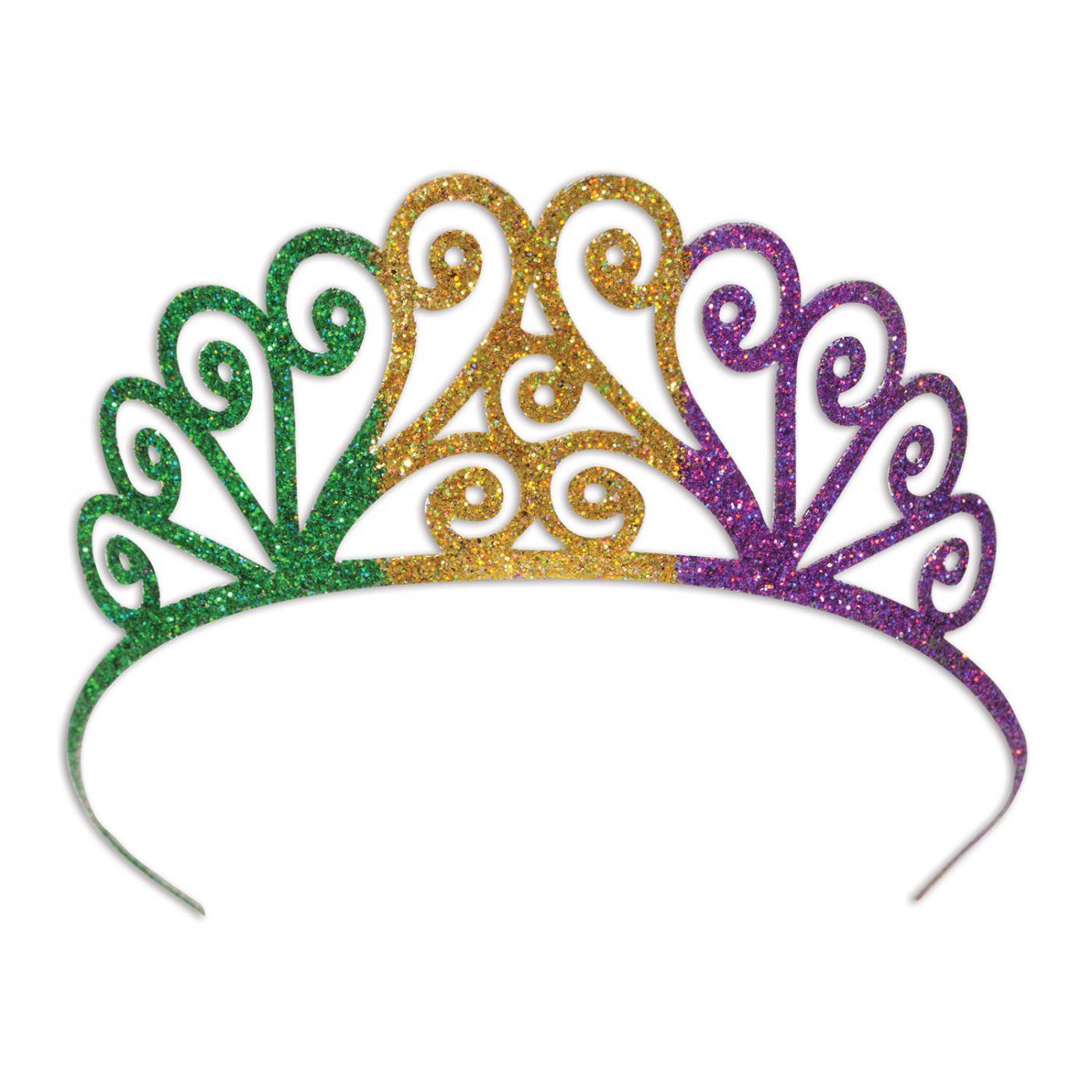 Glittered Metal Mardi Gras Tiara (6) image