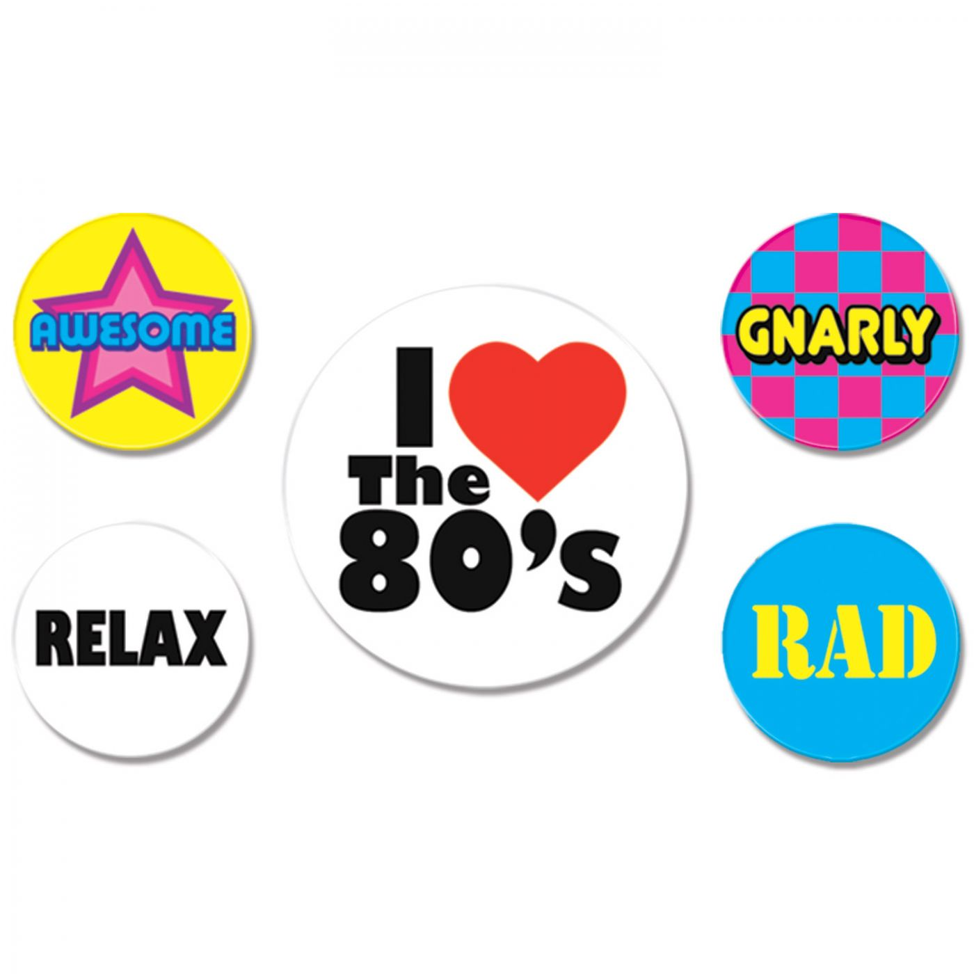 80's Party Buttons image
