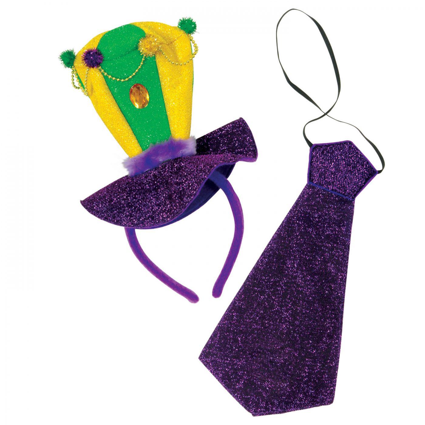 Mardi Gras Headband & Necktie Set image