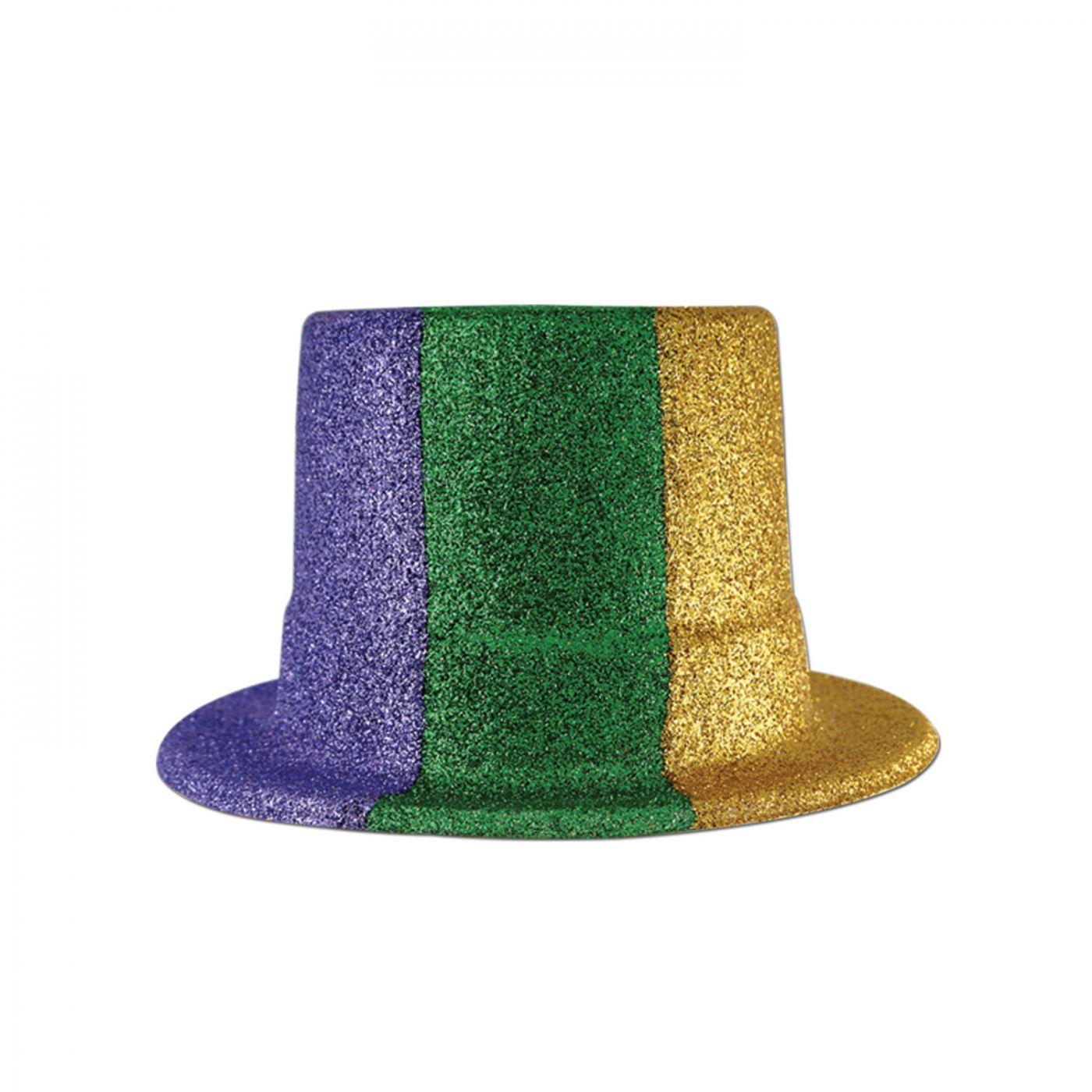Glittered Mardi Gras Top Hat (24) image