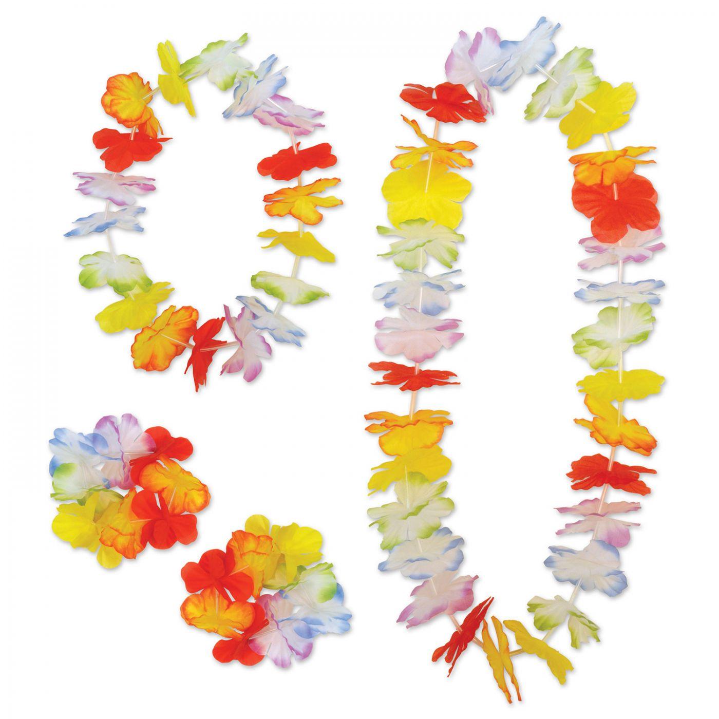 Rainbow Floral Lei Set (6) image
