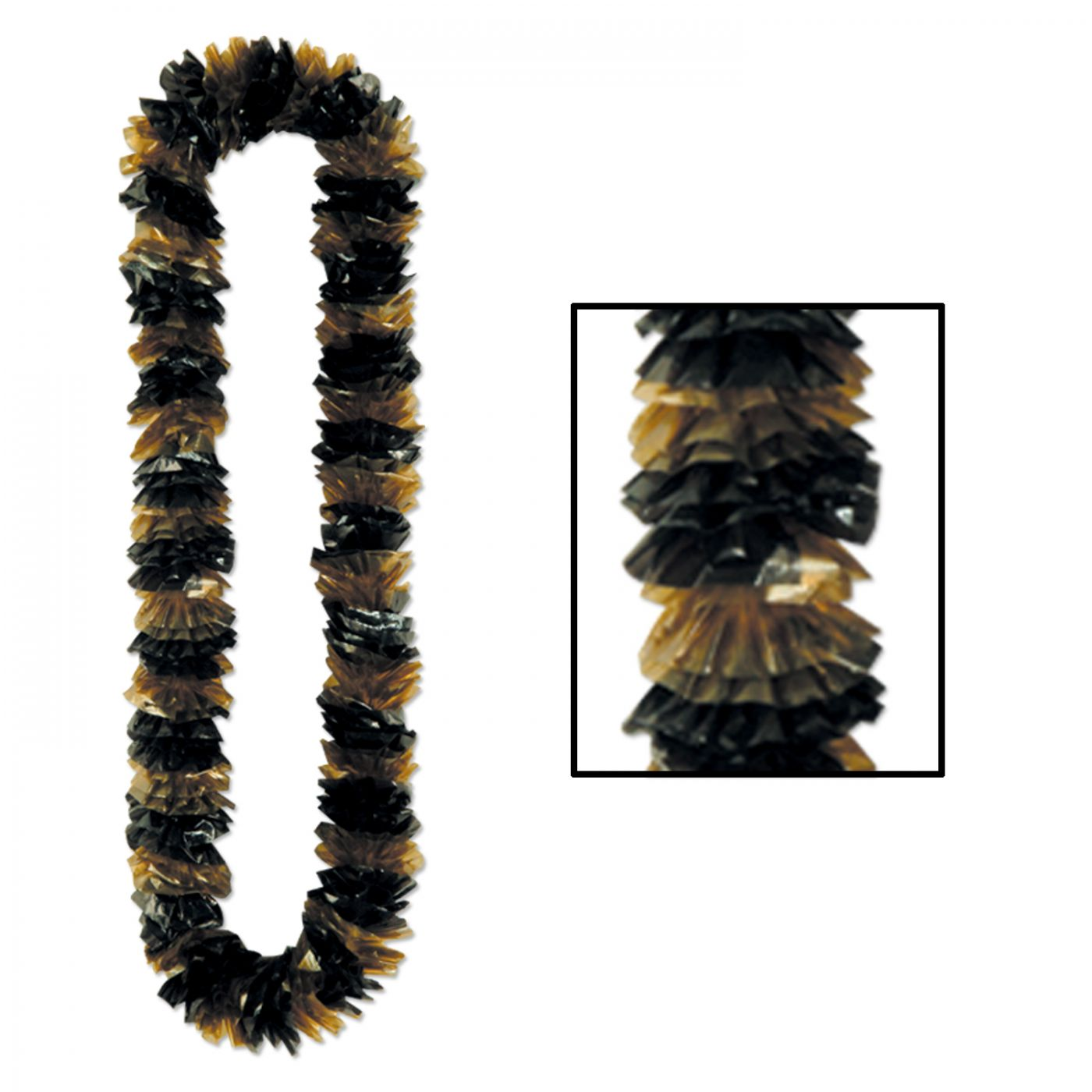 Soft-Twist Black & Gold Poly Leis (100) image