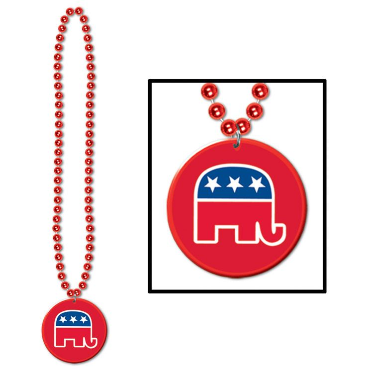 Image of Beads w/Republican Medallion