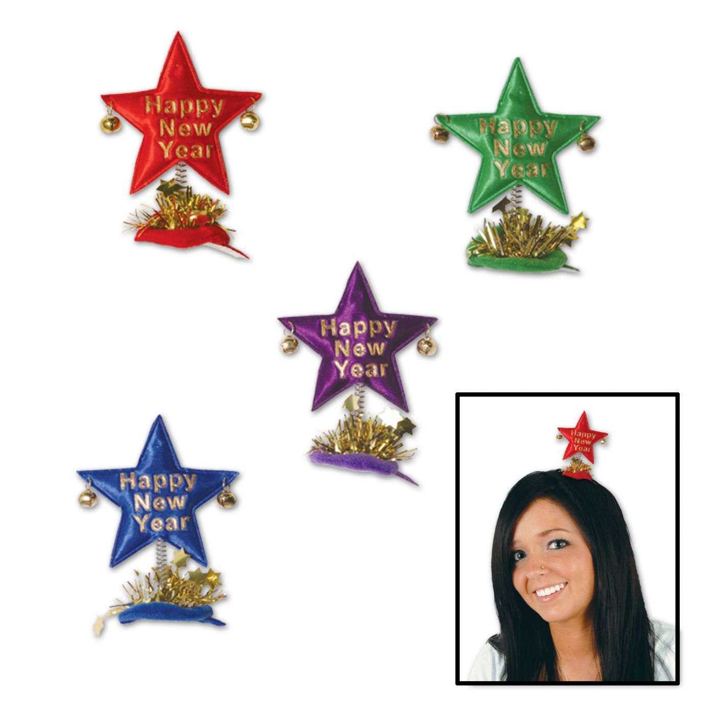 Happy New Year Star Hair Clips image