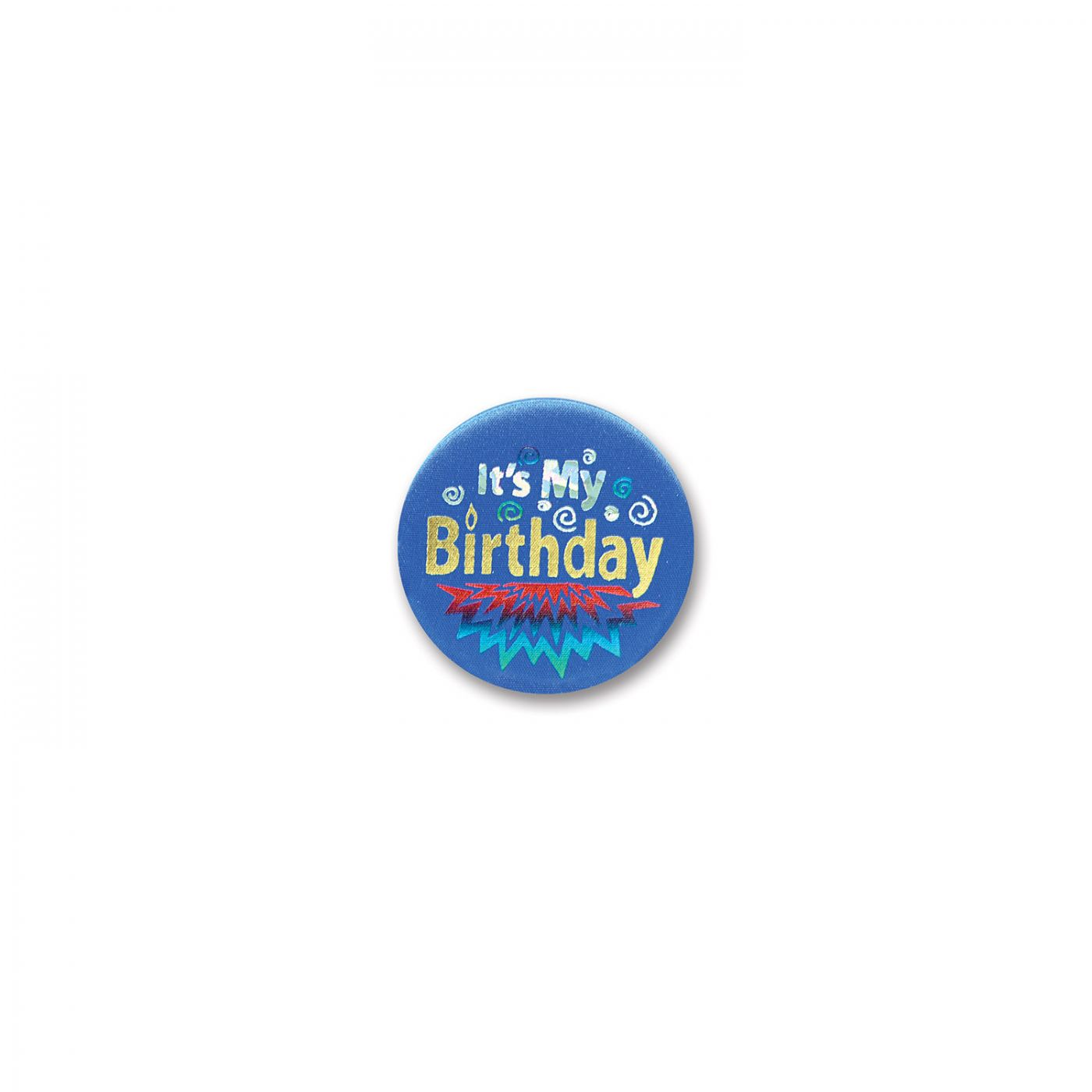 Image of Blue It's My Birthday Satin Button (6)